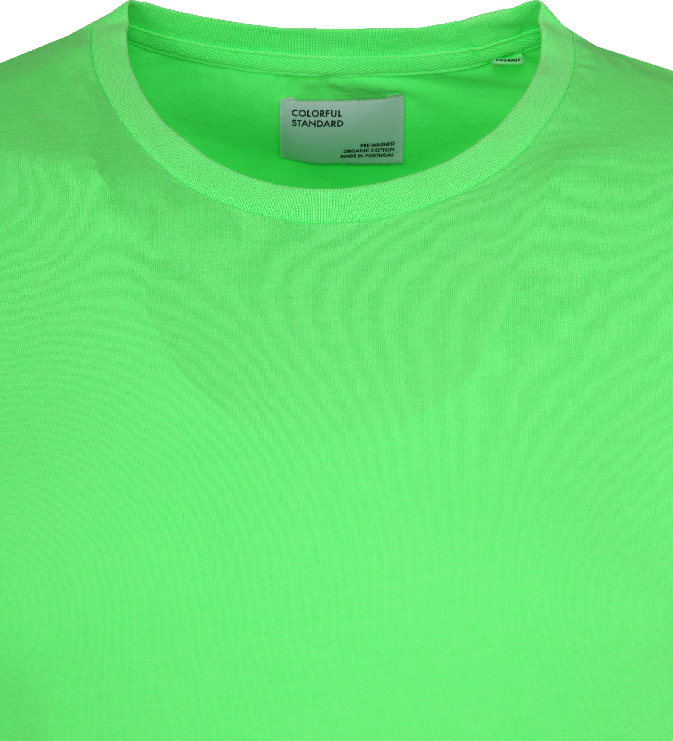 Colorful Standard T-shirt Neon Groen foto 1
