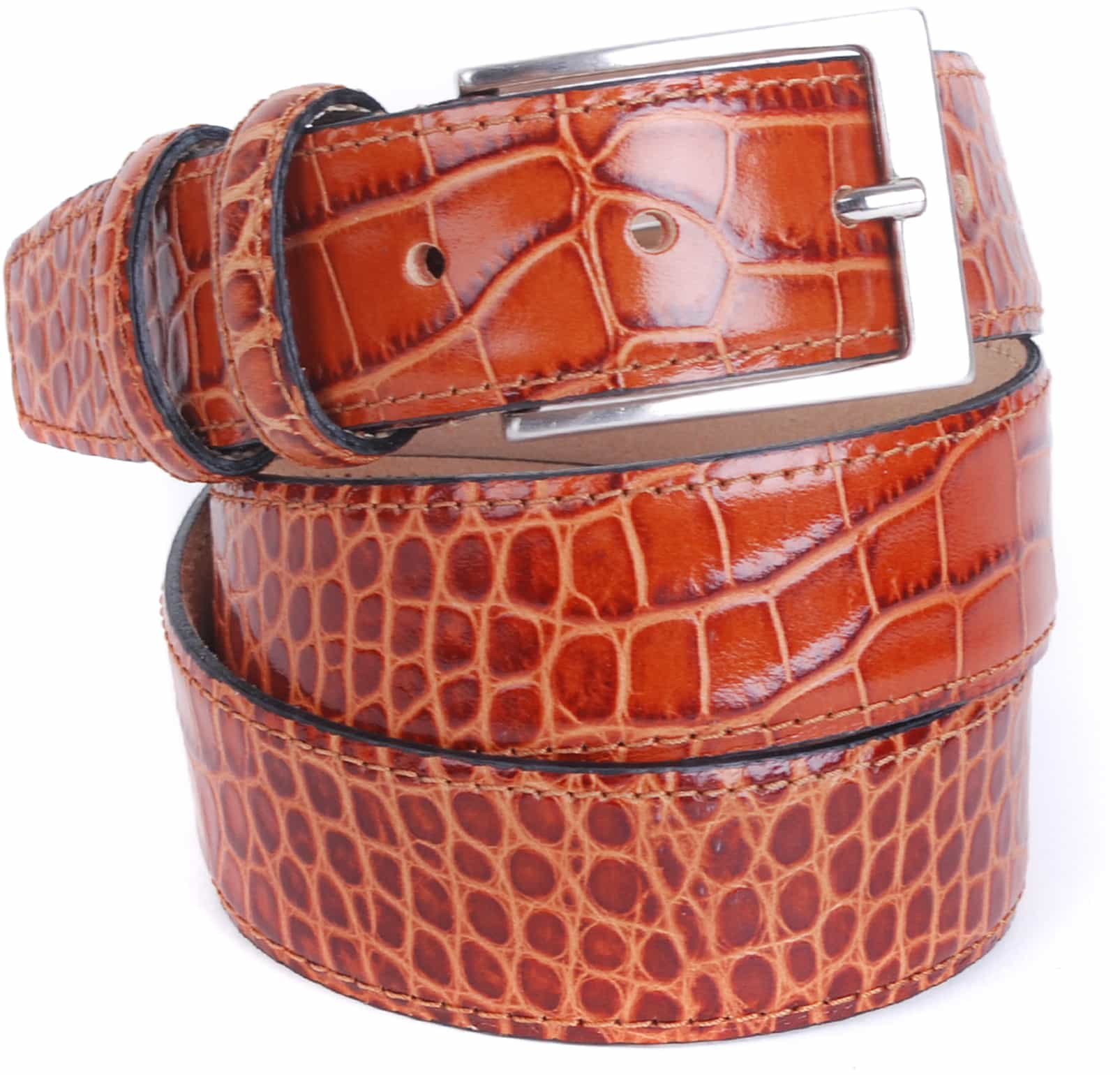 Croco Belt Cognac Leather 42-03 foto 0