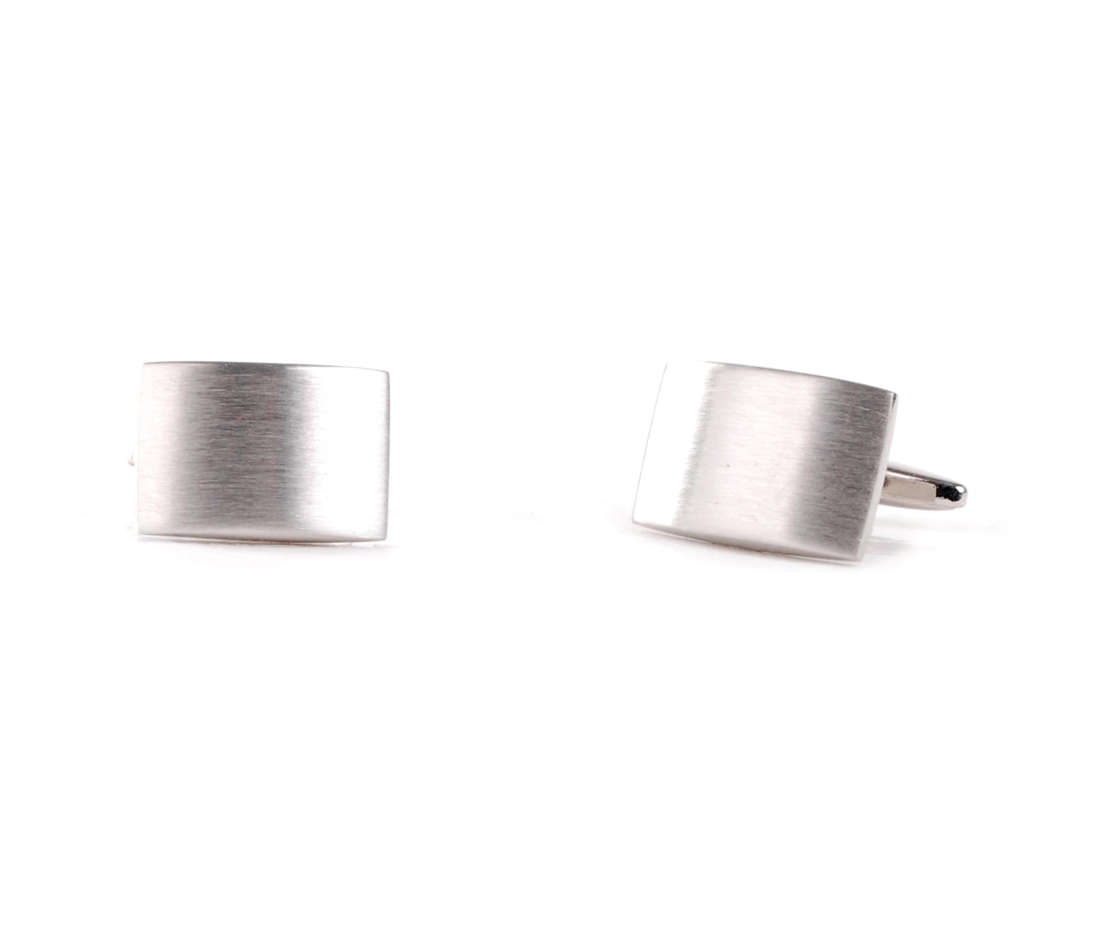 Cufflinks Rectangle Silver Matt foto 0