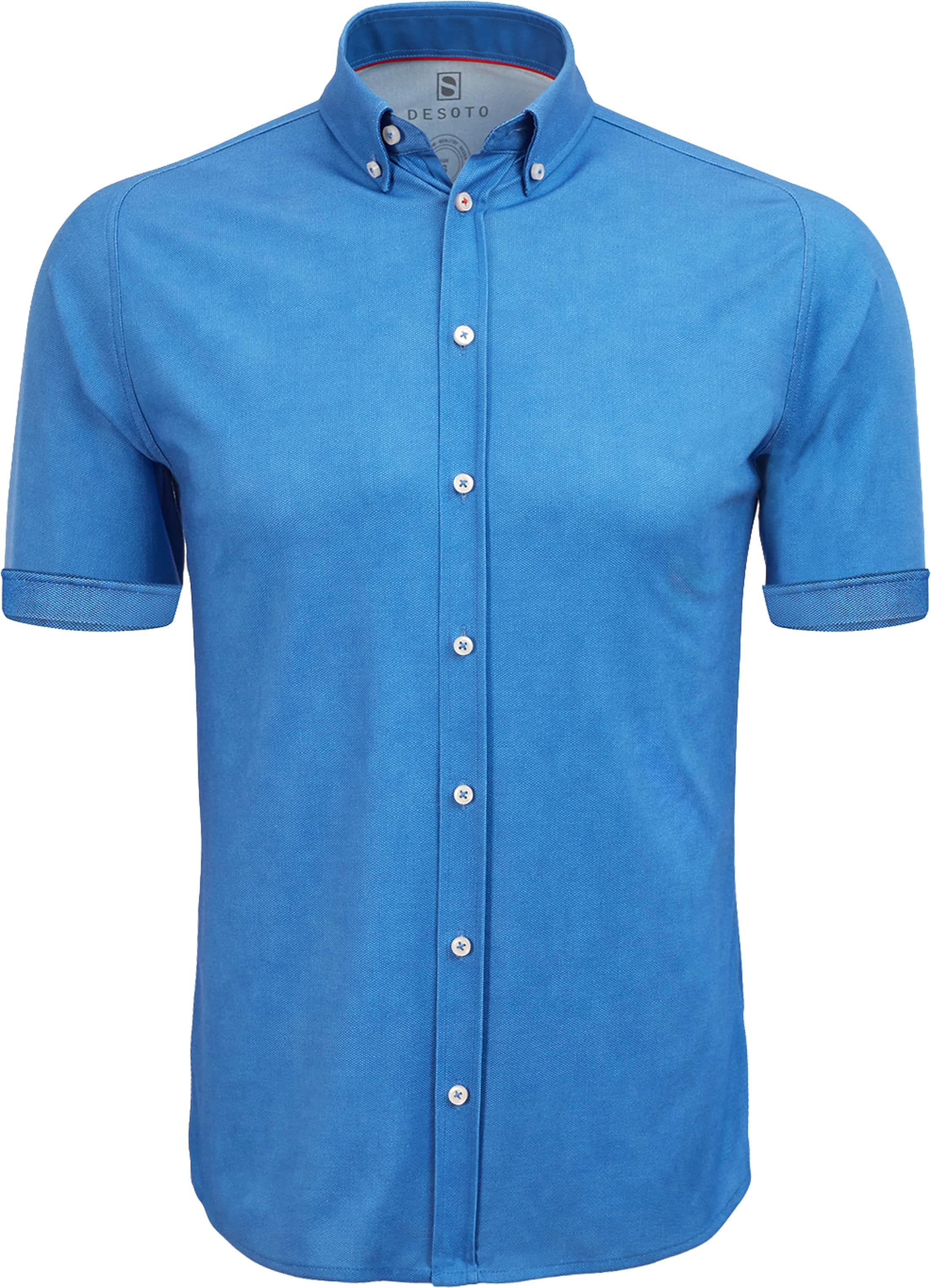 blauwe blouse korte mouw