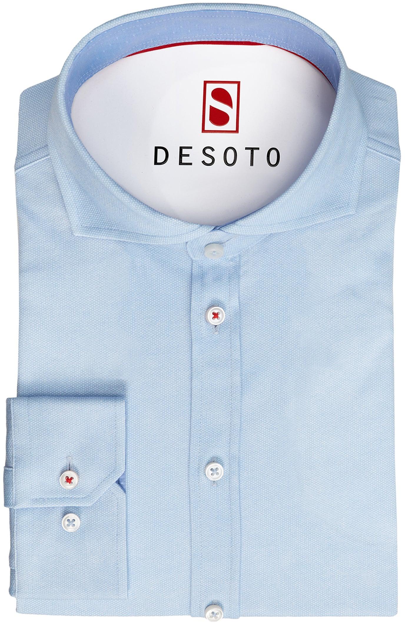 Desoto Overhemd Strijkvrij Blauw Oxford