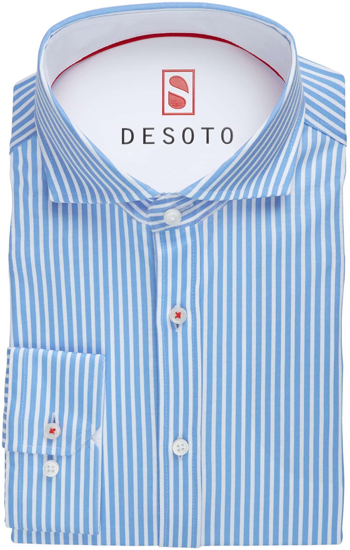 Desoto Overhemd Strijkvrij Blauw Streep foto 2