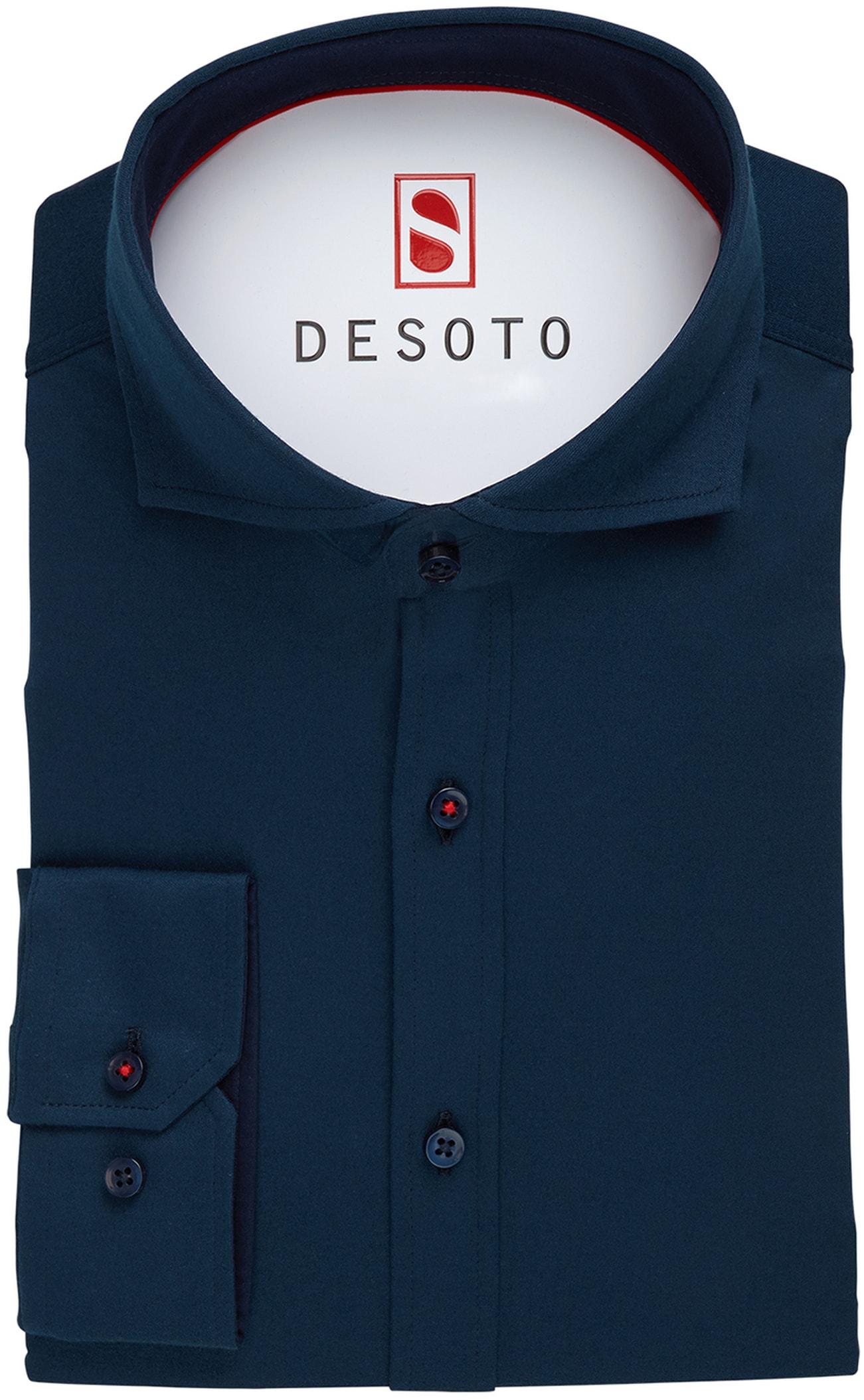 Desoto Overhemd Strijkvrij Donkerblauw foto 2