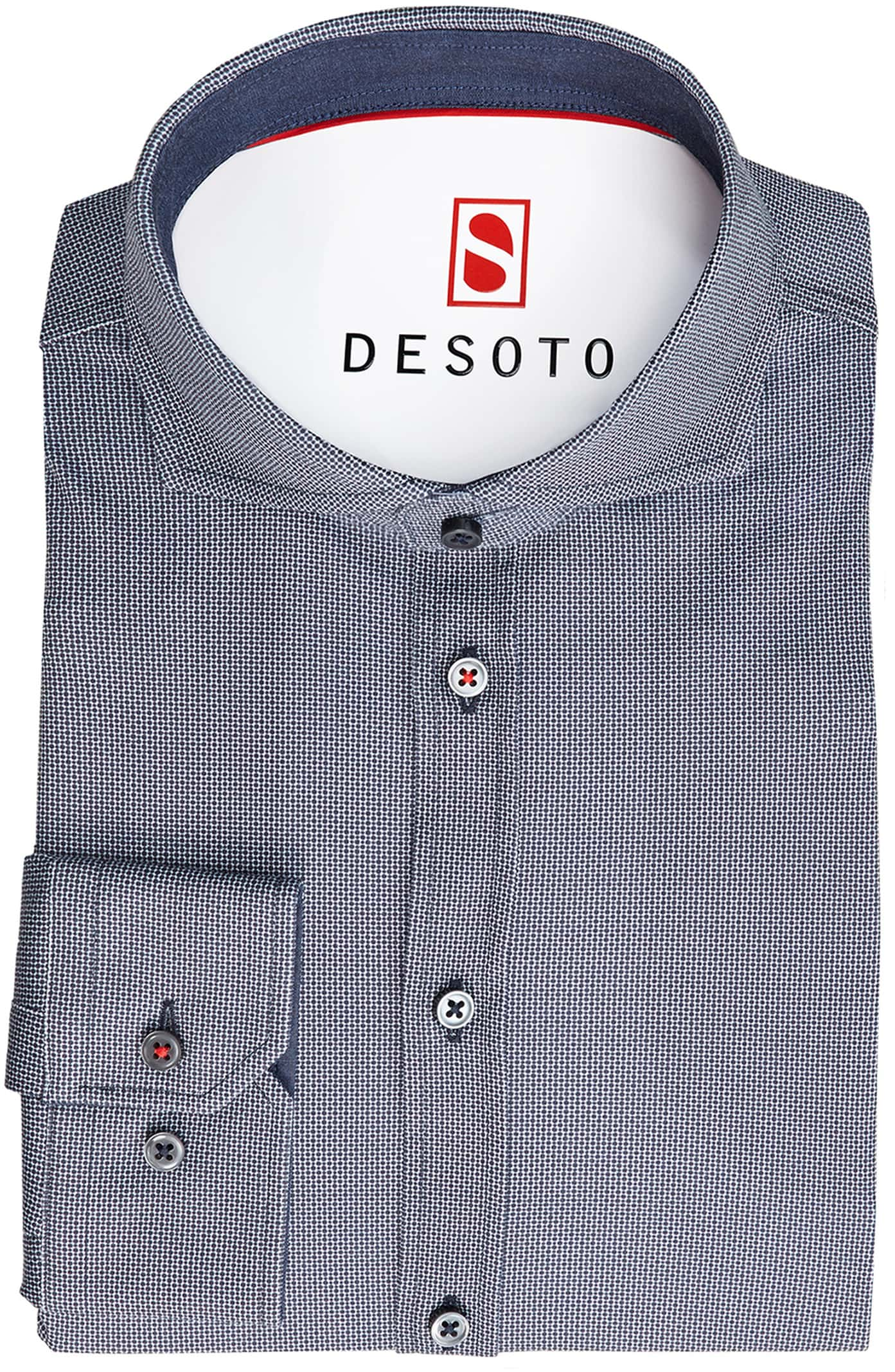 Desoto Overhemd Strijkvrij Donkerblauw Print foto 2