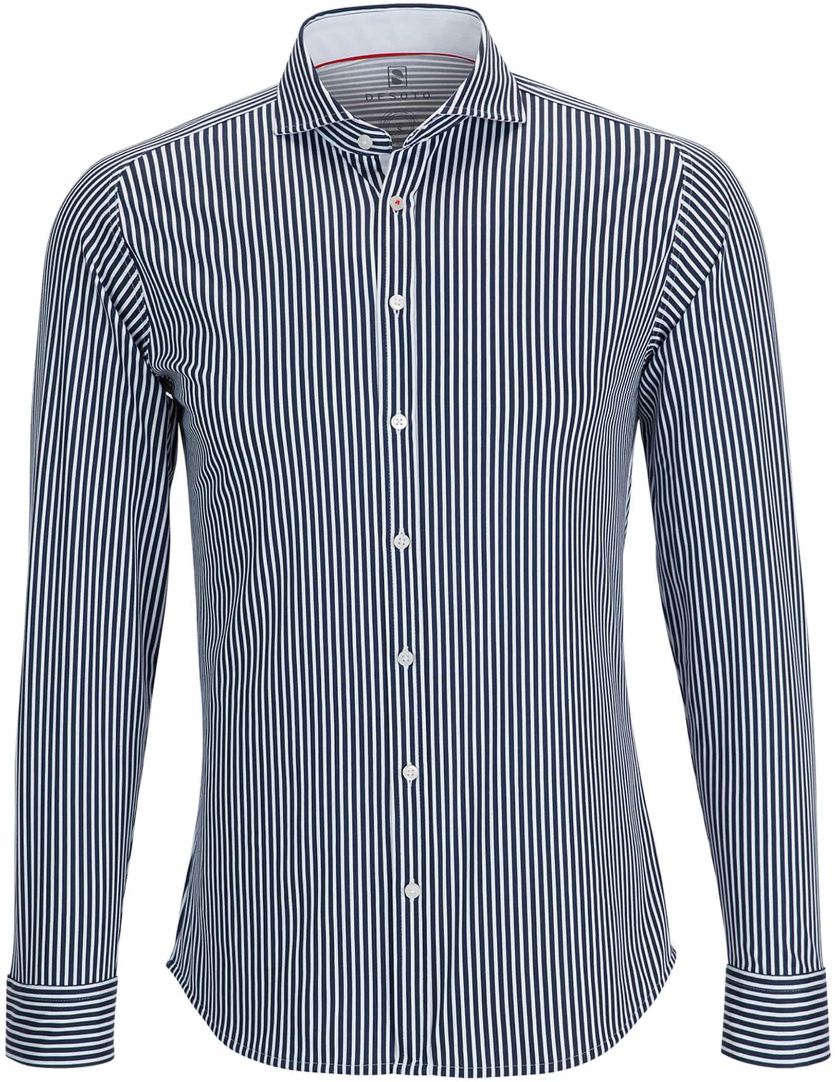 Desoto Overhemd Strijkvrij Donkerblauw Streep foto 0