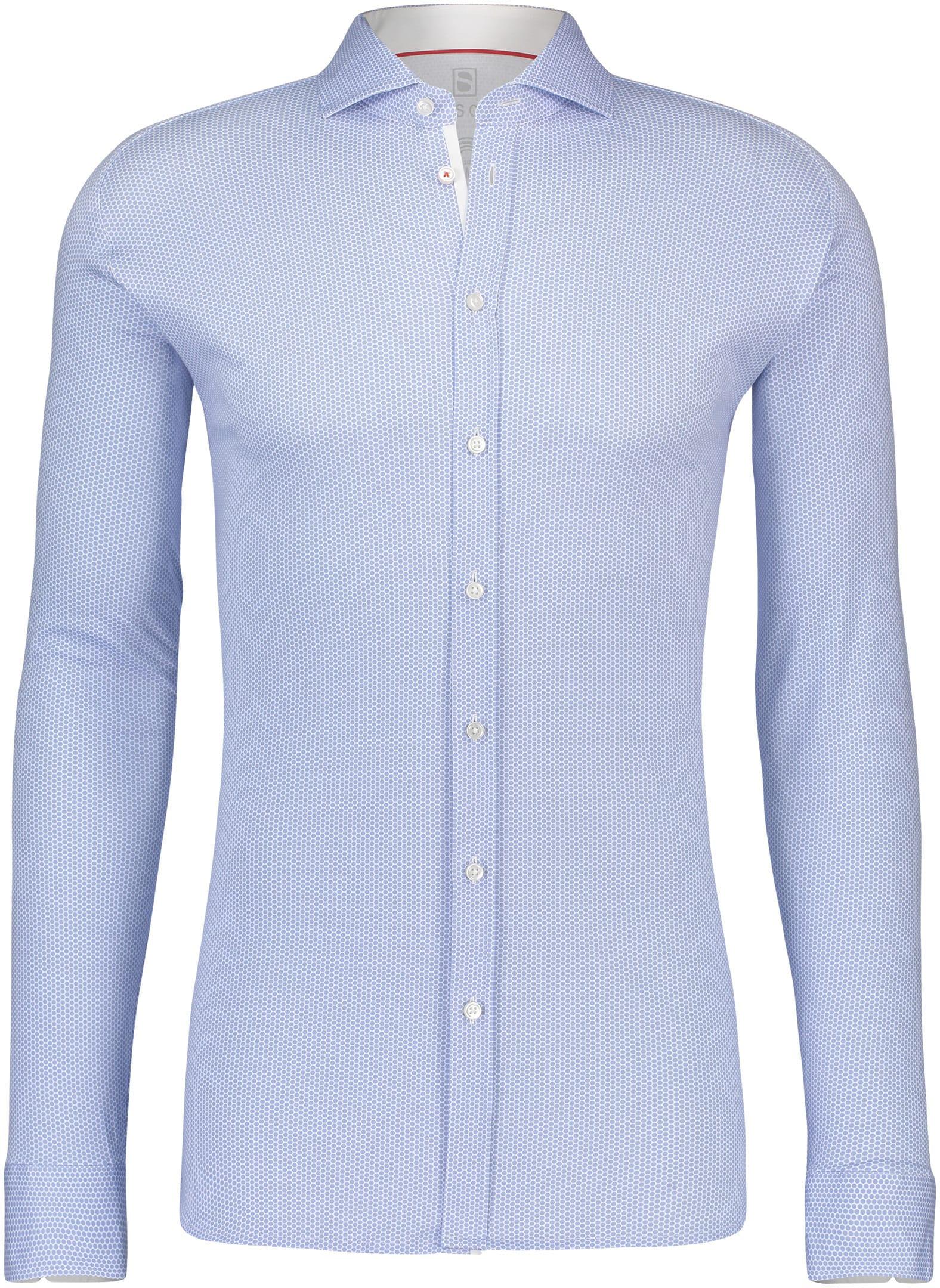 Desoto Overhemd Strijkvrij Stippen Blauw foto 0