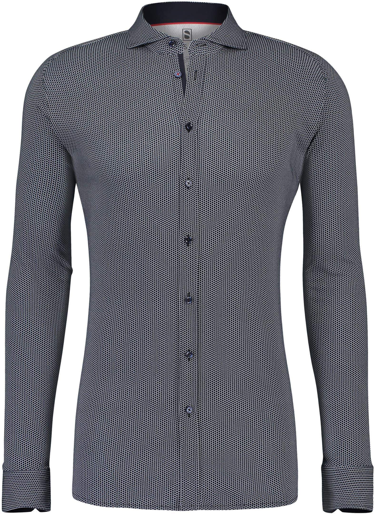 Desoto Overhemd Strijkvrij Stippen Donkerblauw foto 0