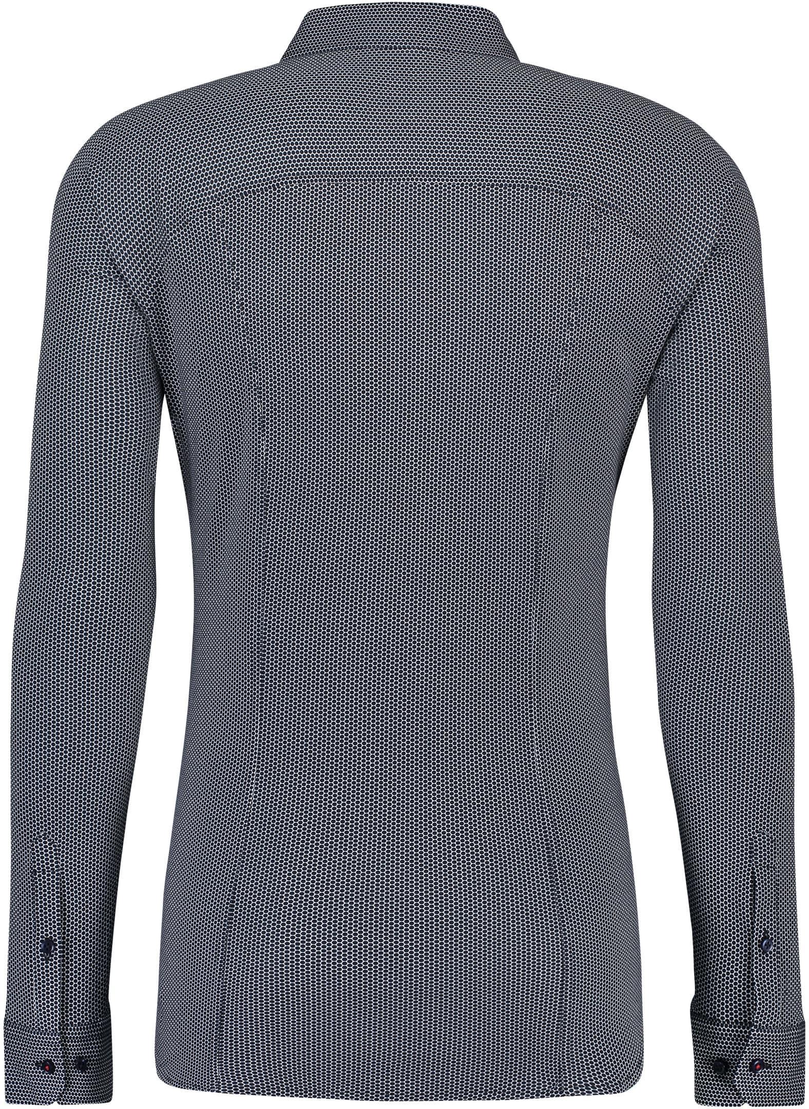 Desoto Overhemd Strijkvrij Stippen Donkerblauw foto 1