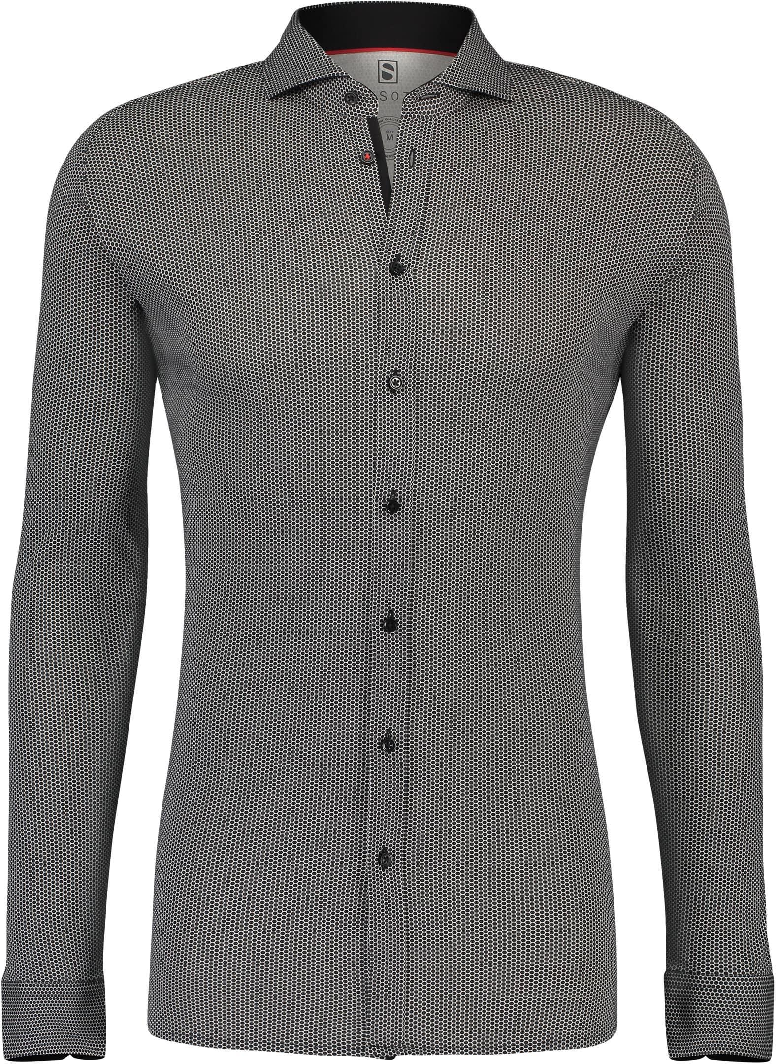 Desoto Overhemd Strijkvrij Stippen Zwart foto 0