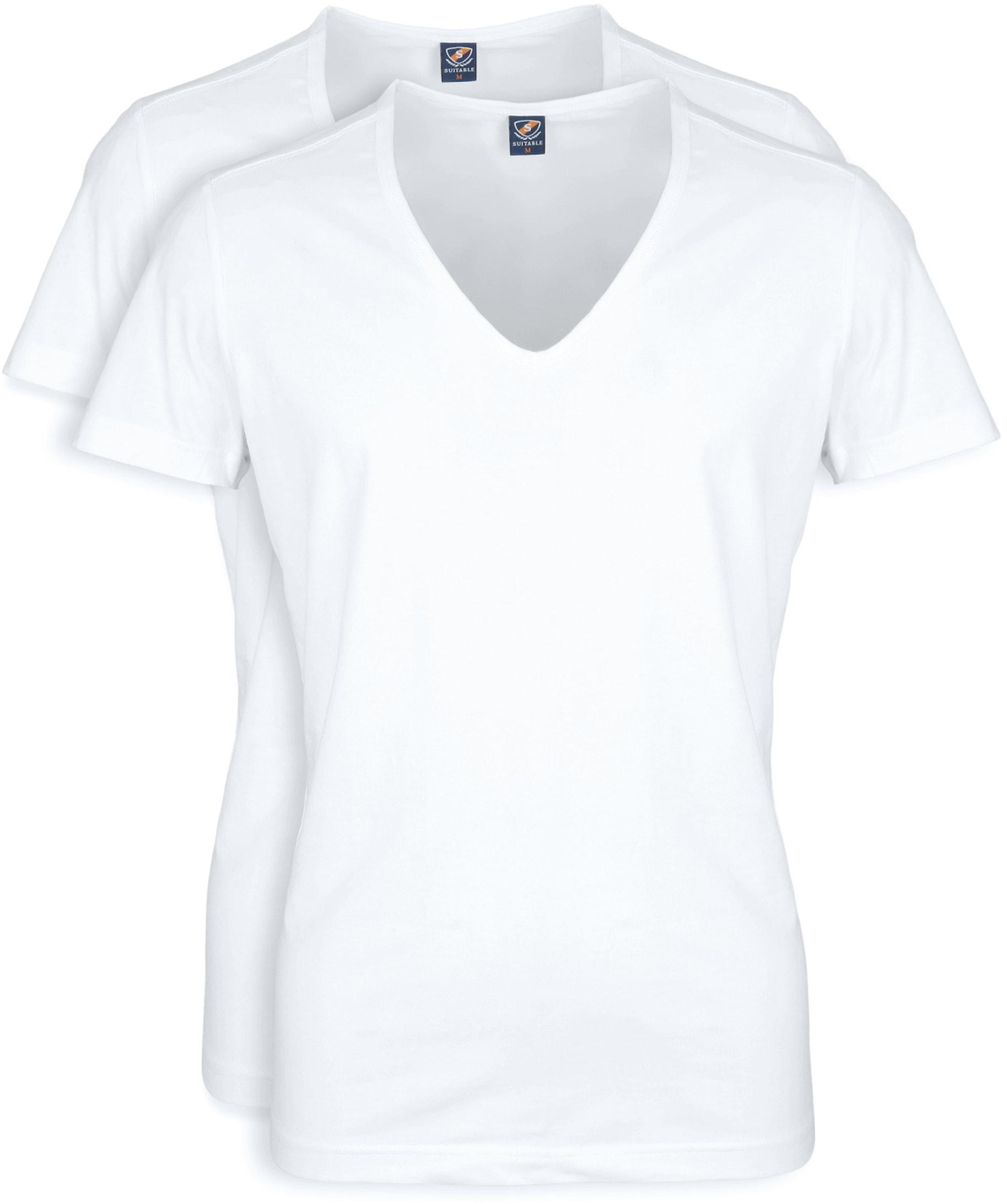 Diepe V hals 2-Pack Stretch T-Shirt