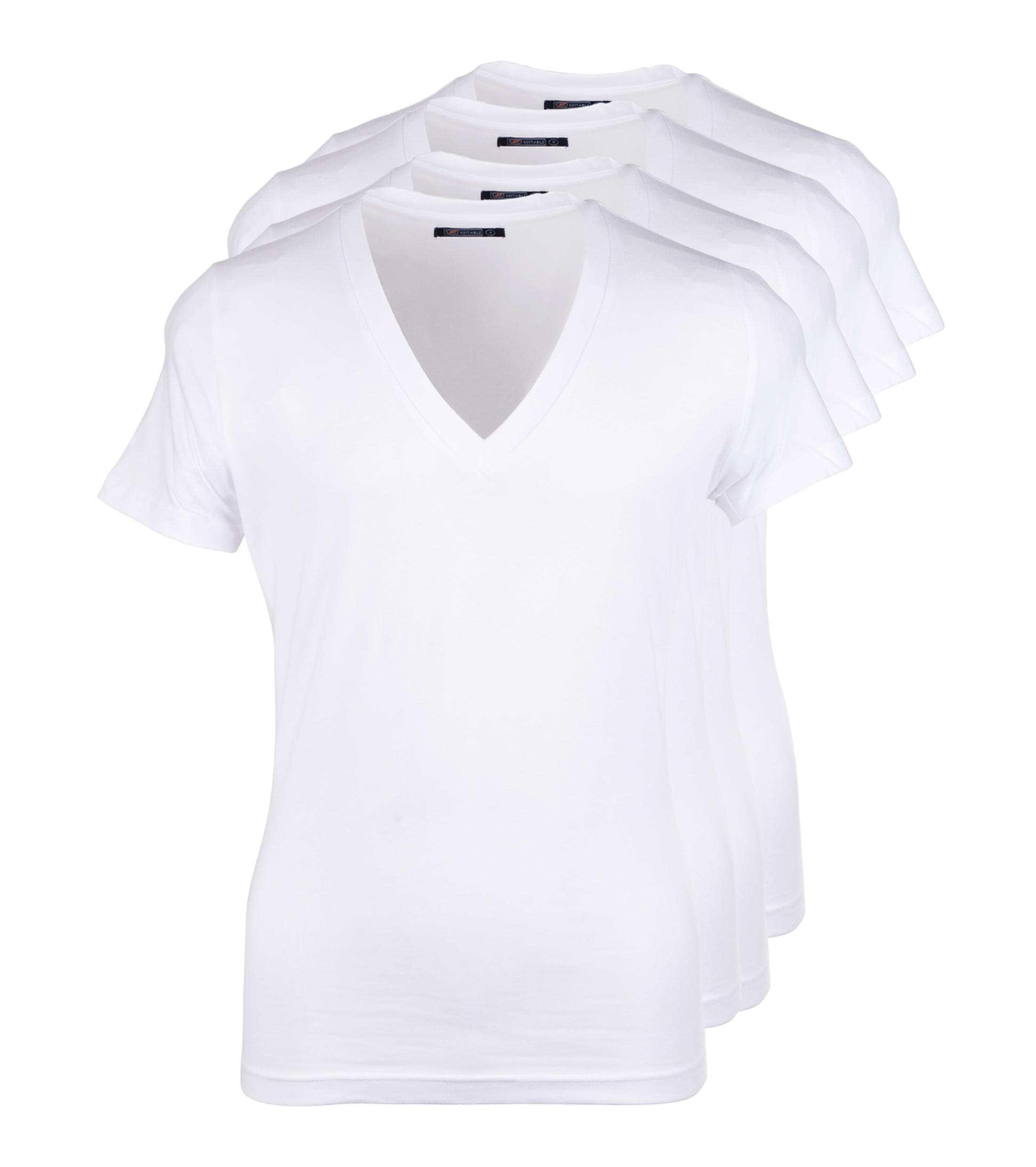 Diepe v hals 4 pack stretch t shirt for Designhotel maastricht comfort xl
