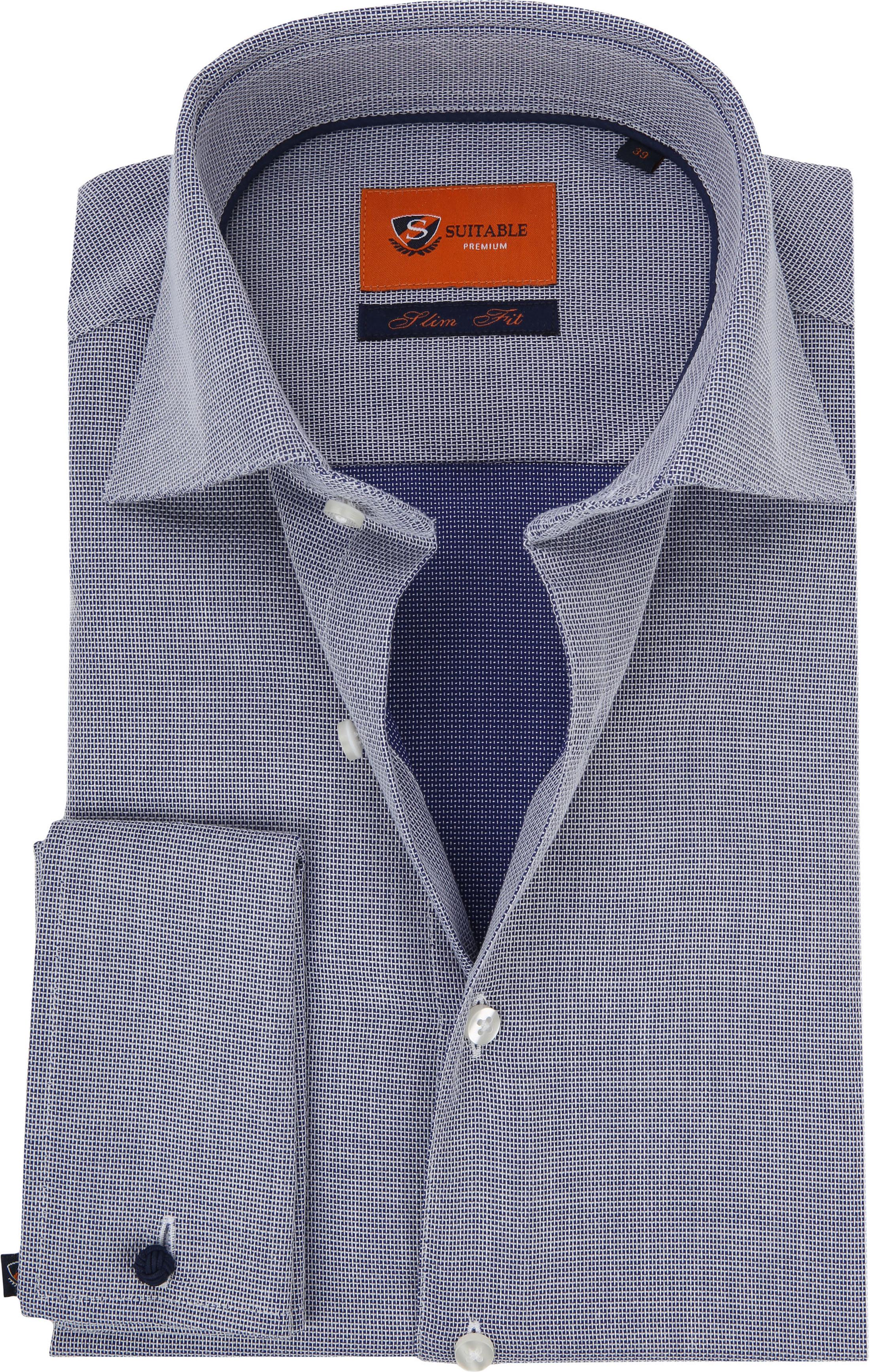 Doppel Cuff Hemd Blau Kariert 52-22 foto 0