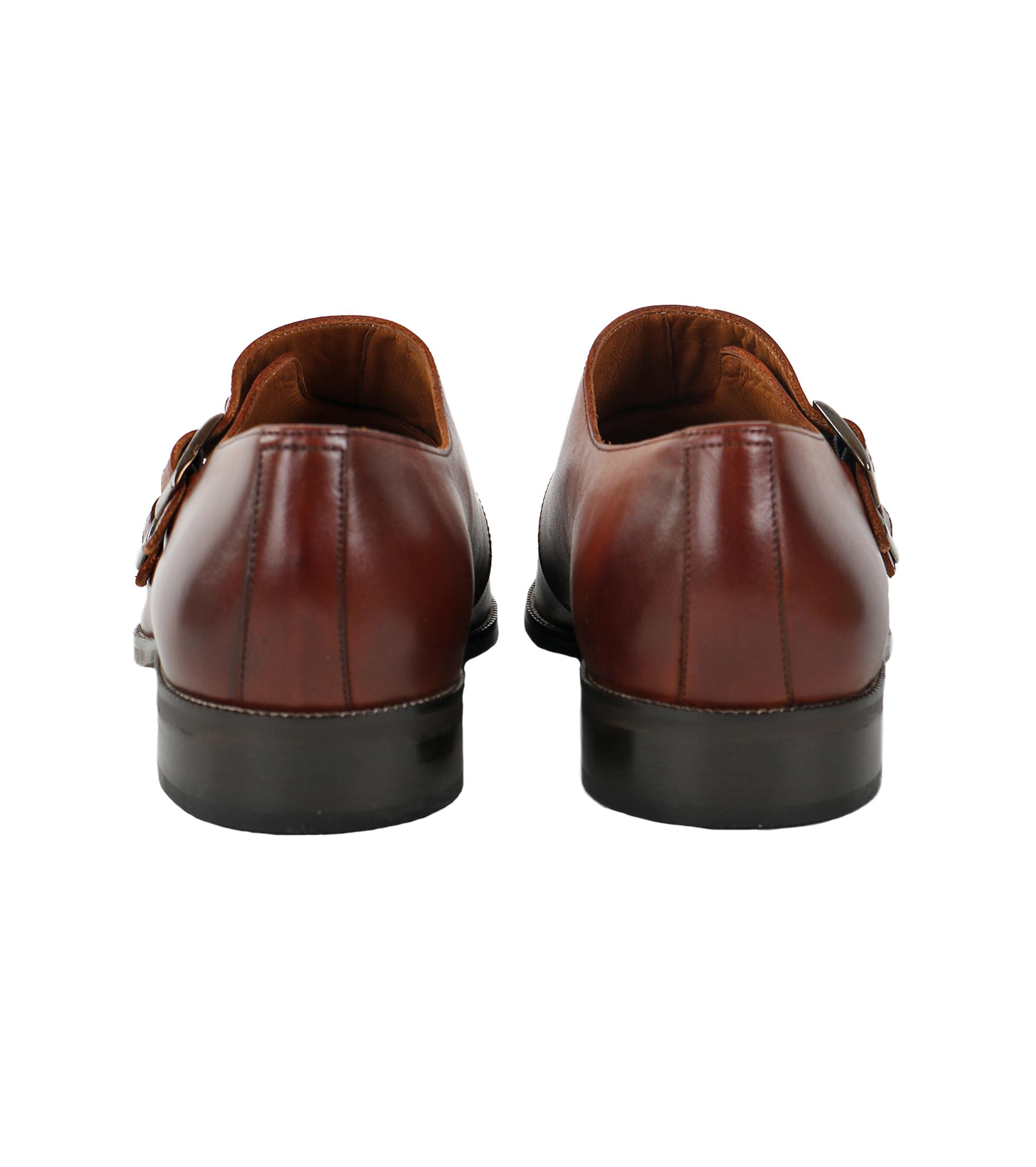 Double Monk Strap Leather Cognac foto 2