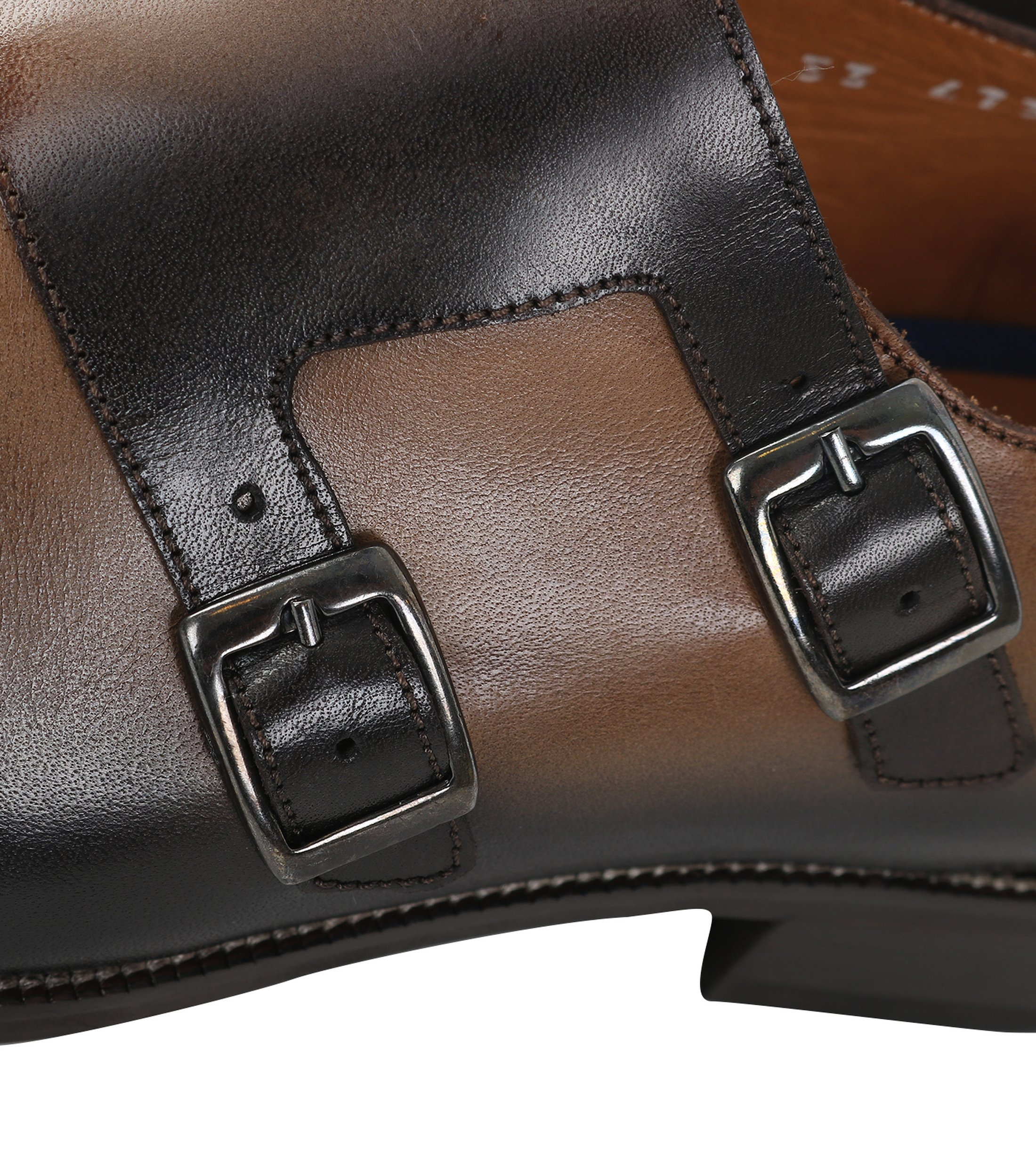 Double Monk Strap Leather Taupe foto 1