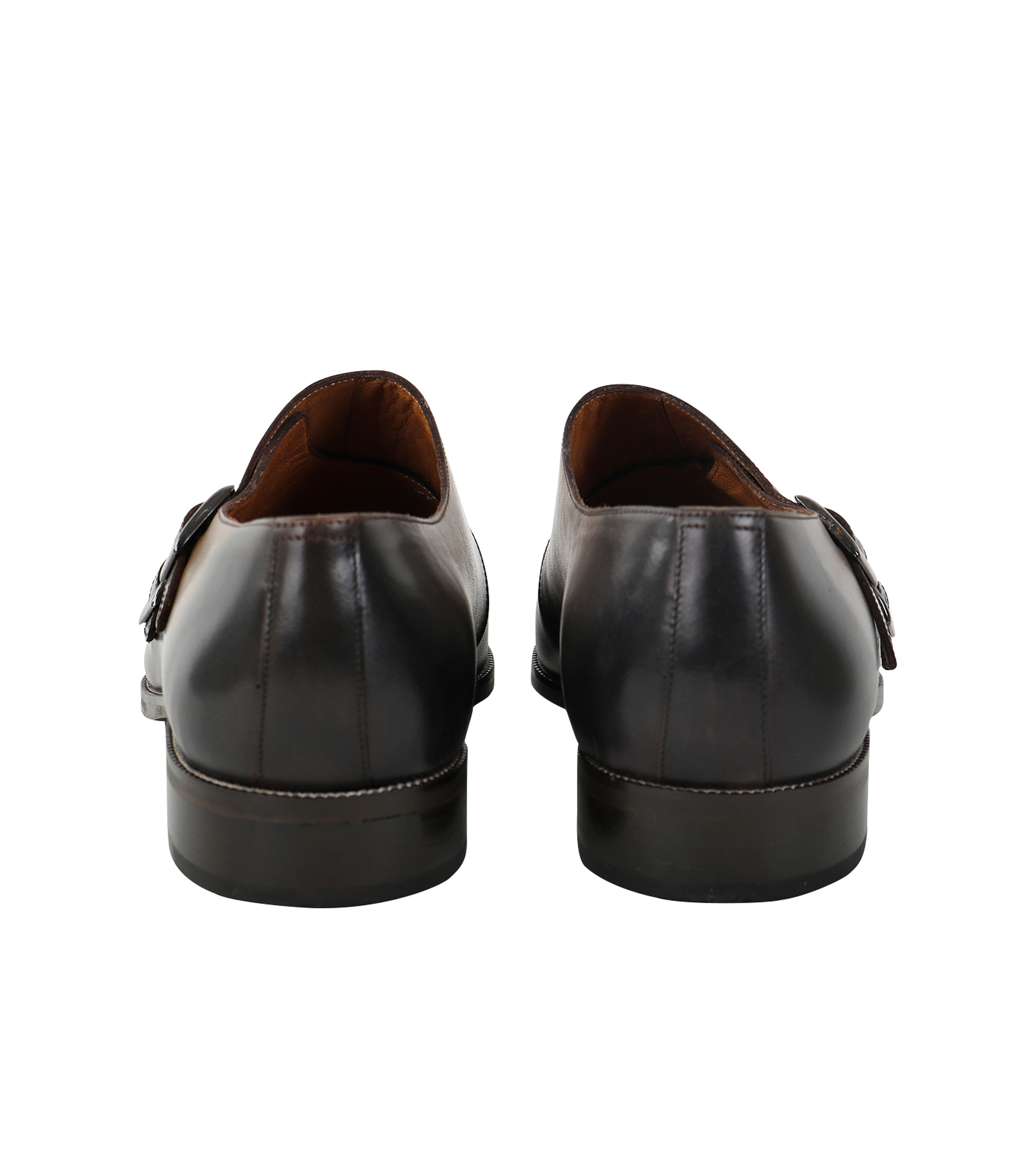 Double Monk Strap Leather Taupe foto 2