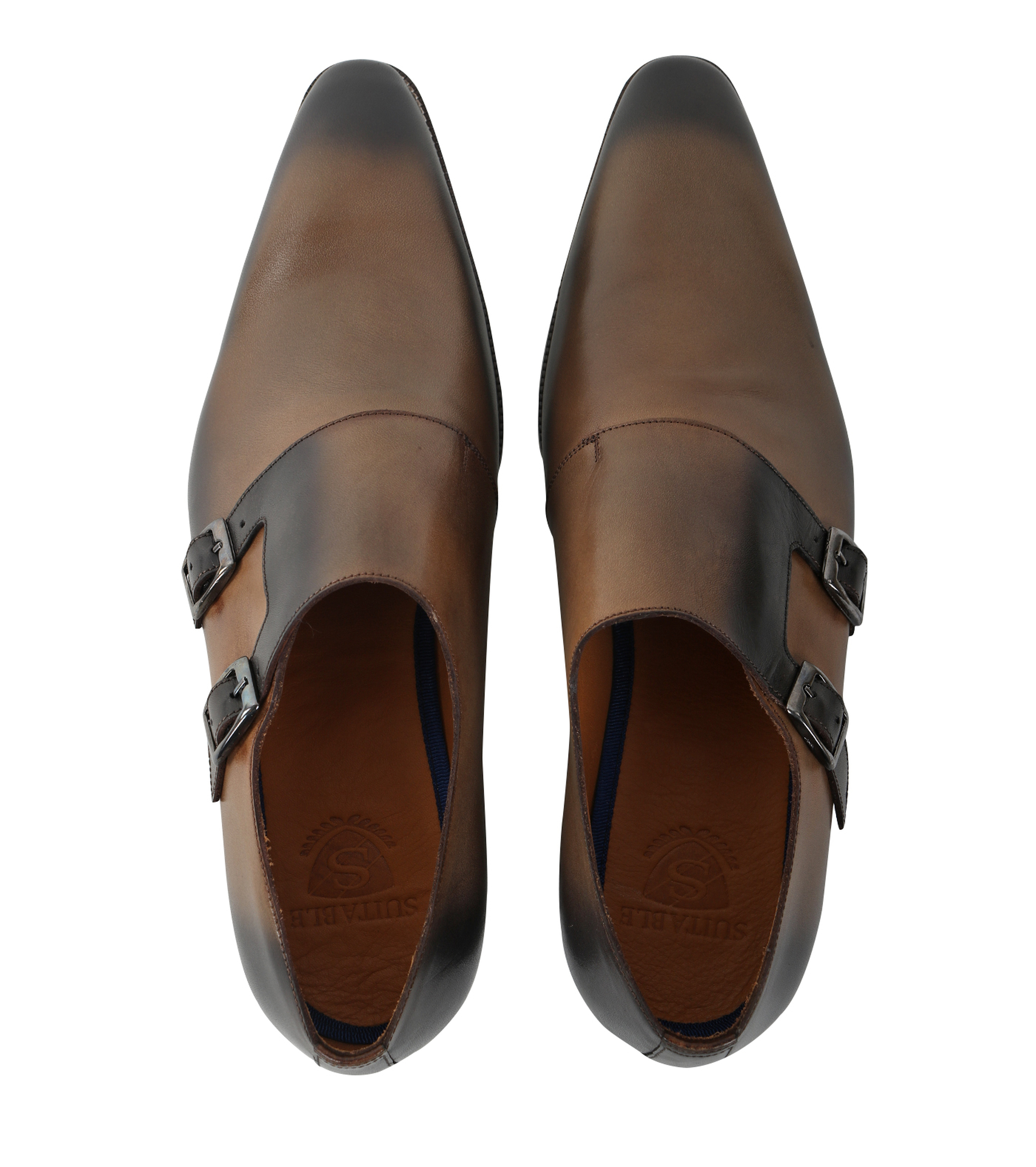 Double Monk Strap Leather Taupe foto 3