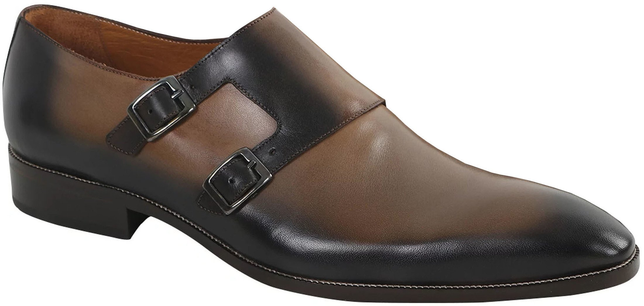 Double Monk Strap Leather Taupe foto 0