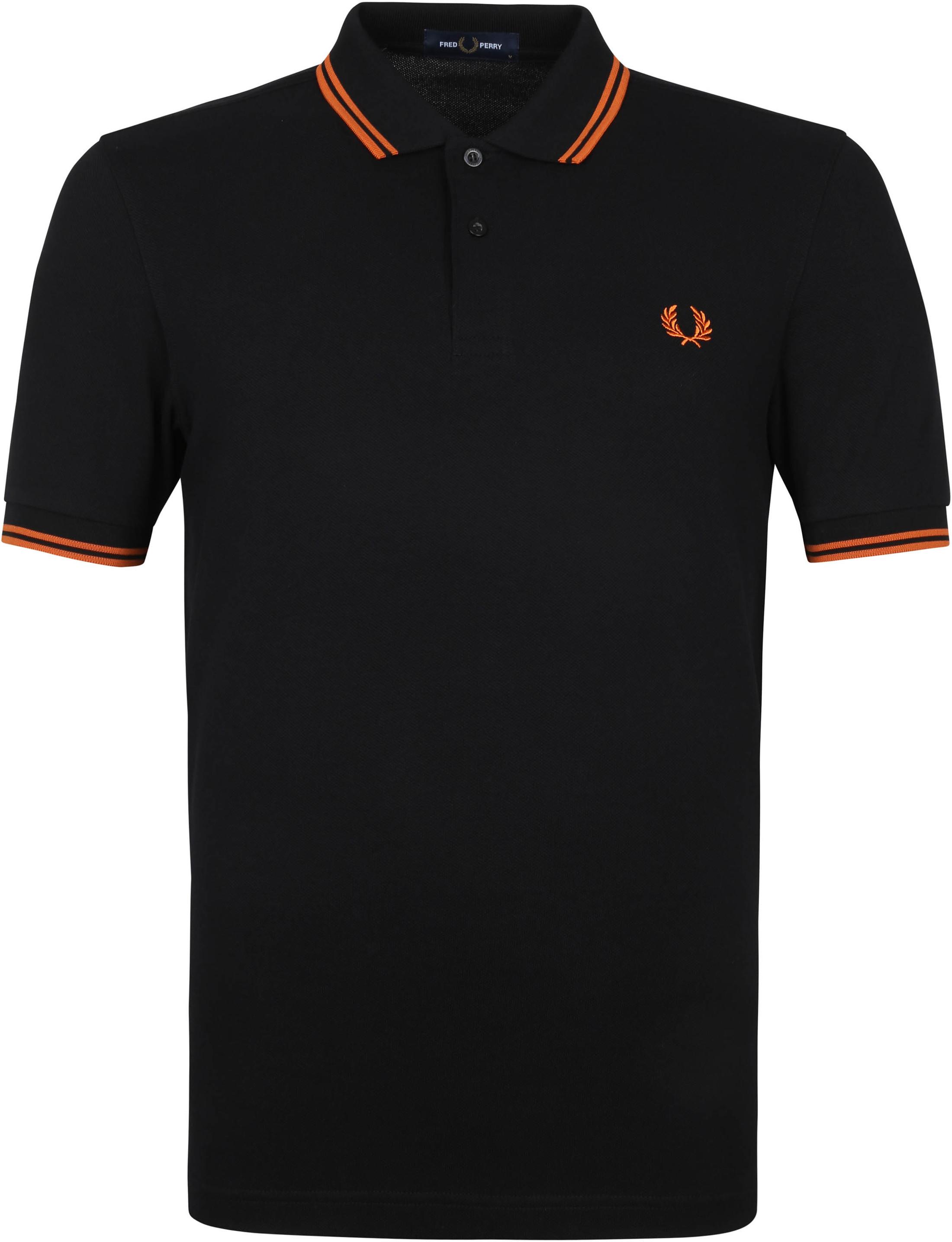 Fred Perry Poloshirt M3600 Schwarz Orange