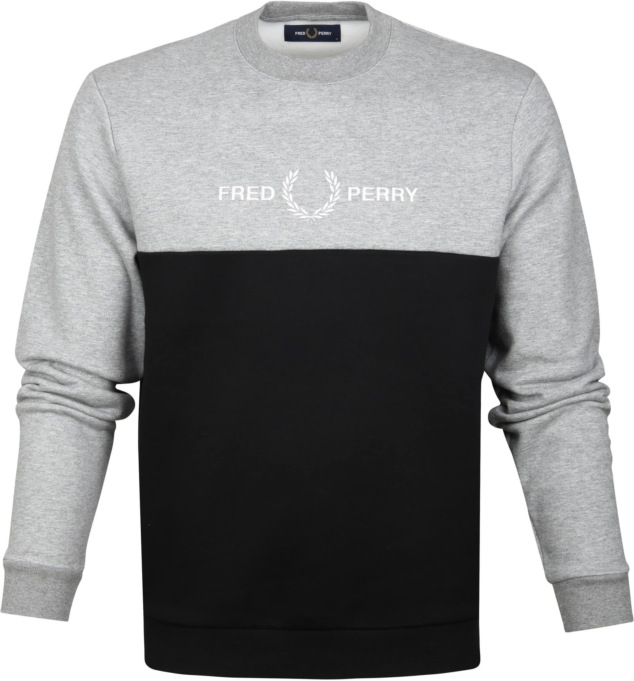 Fred Perry Sweater Grey Black Logo foto 0