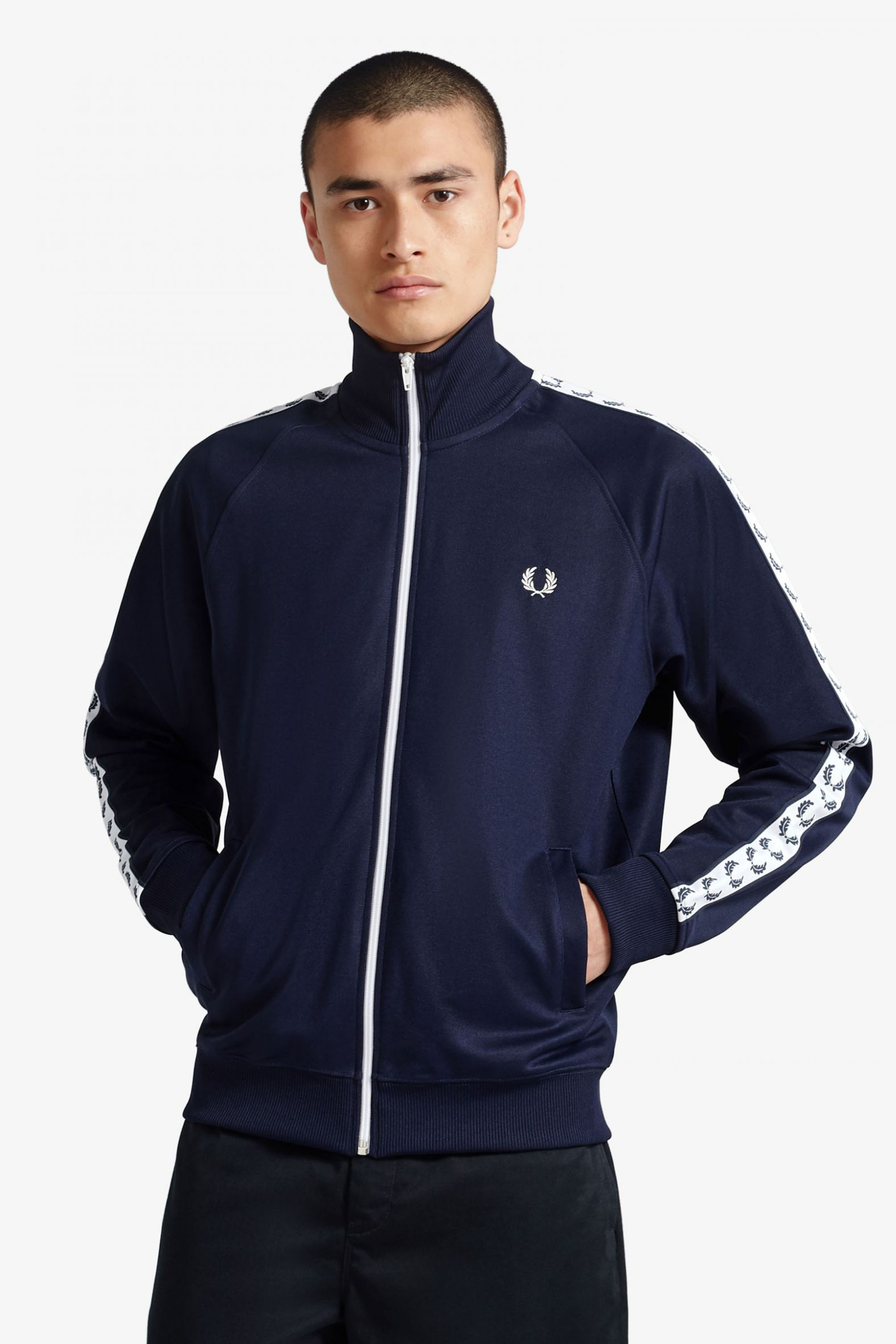 Fred Perry Taped Track Jacket Donkerblauw