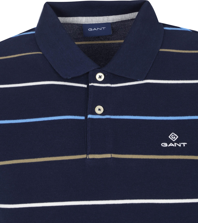 Gant Breton Stripe Polo Donkerblauw Wit