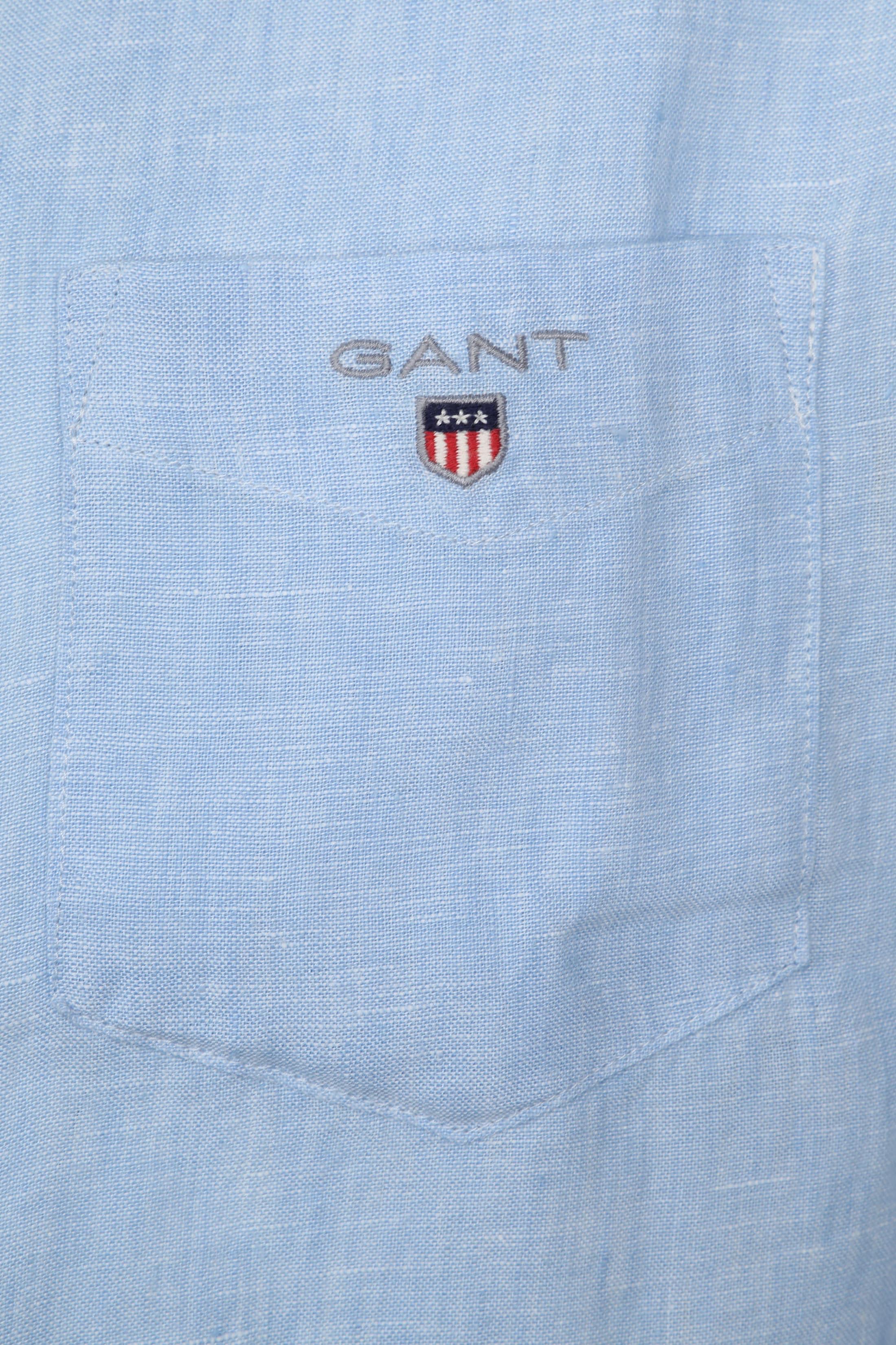 Gant Casual Overhemd Linnen Lichtblauw foto 1