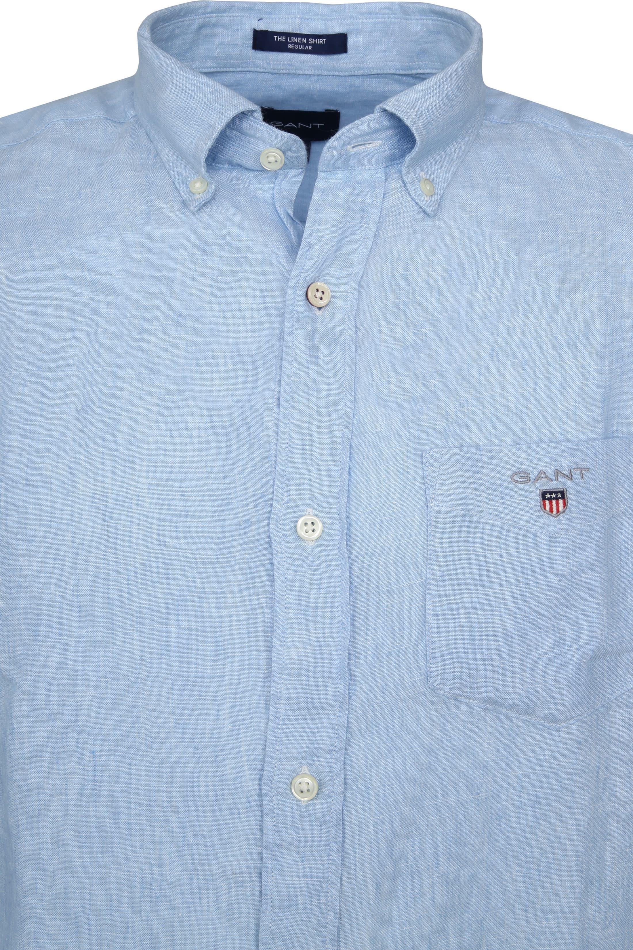 Gant Casual Overhemd Linnen Lichtblauw foto 2