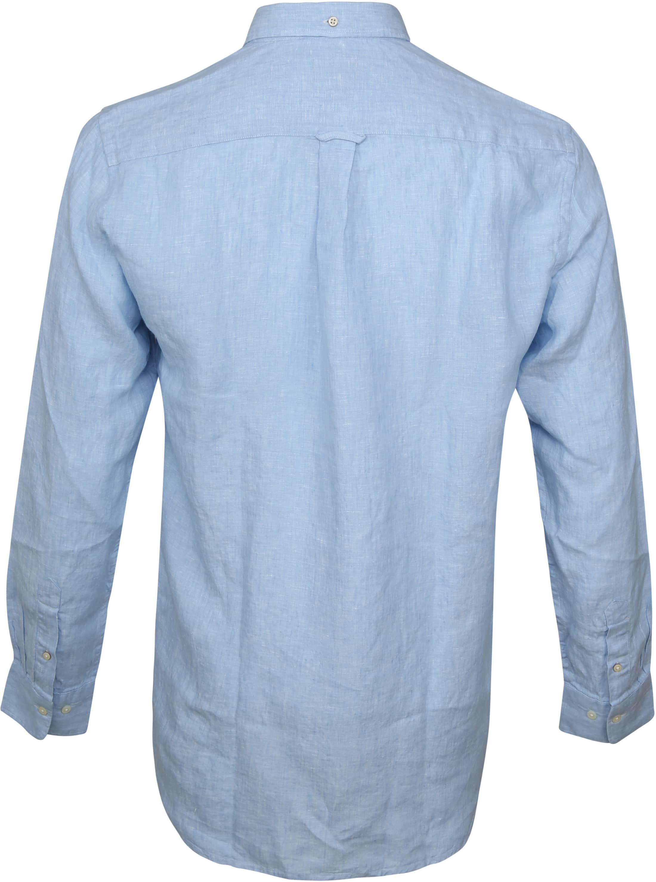 Gant Casual Overhemd Linnen Lichtblauw foto 3