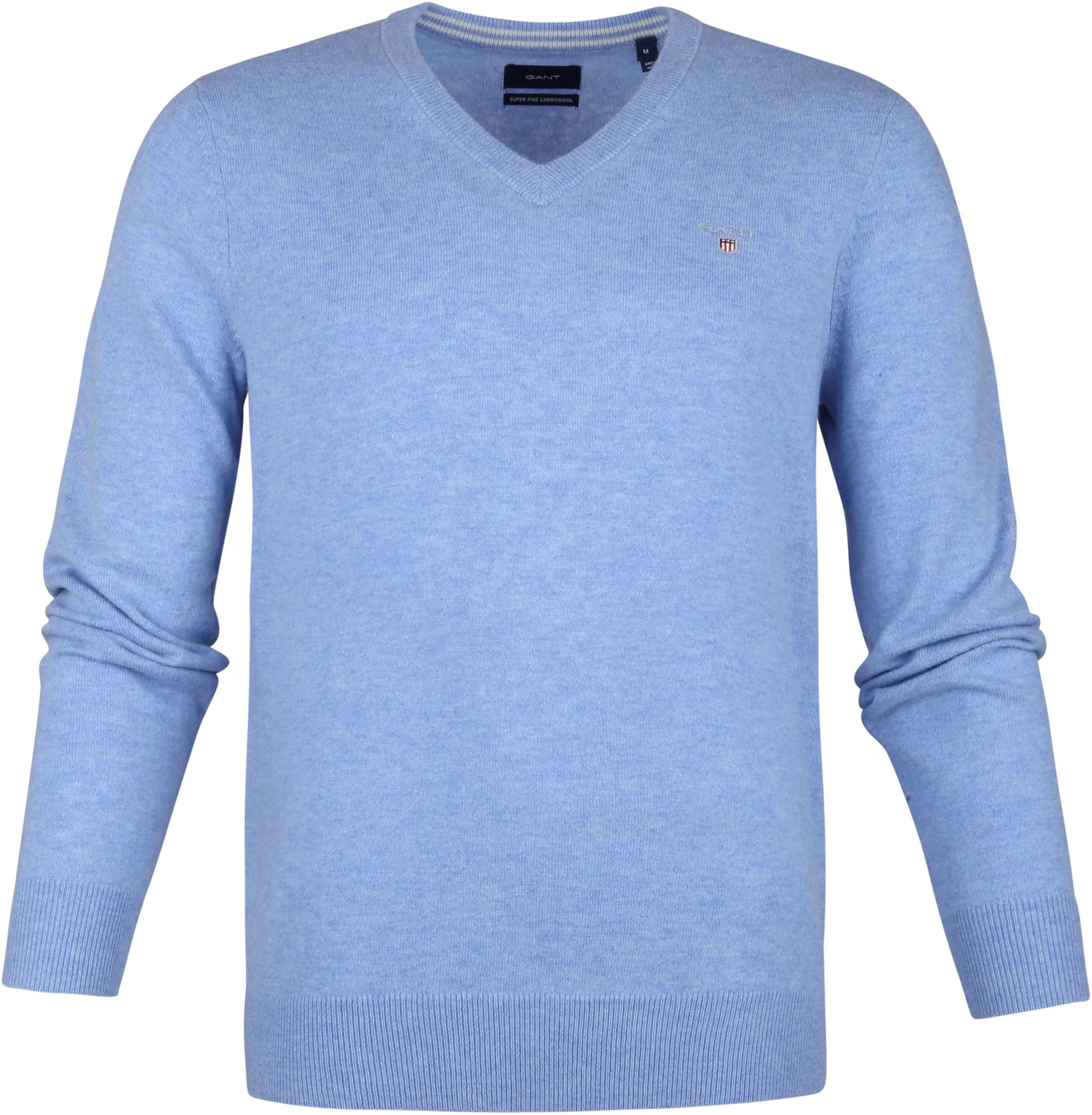 Gant Lamswol Pullover Licht Blauw