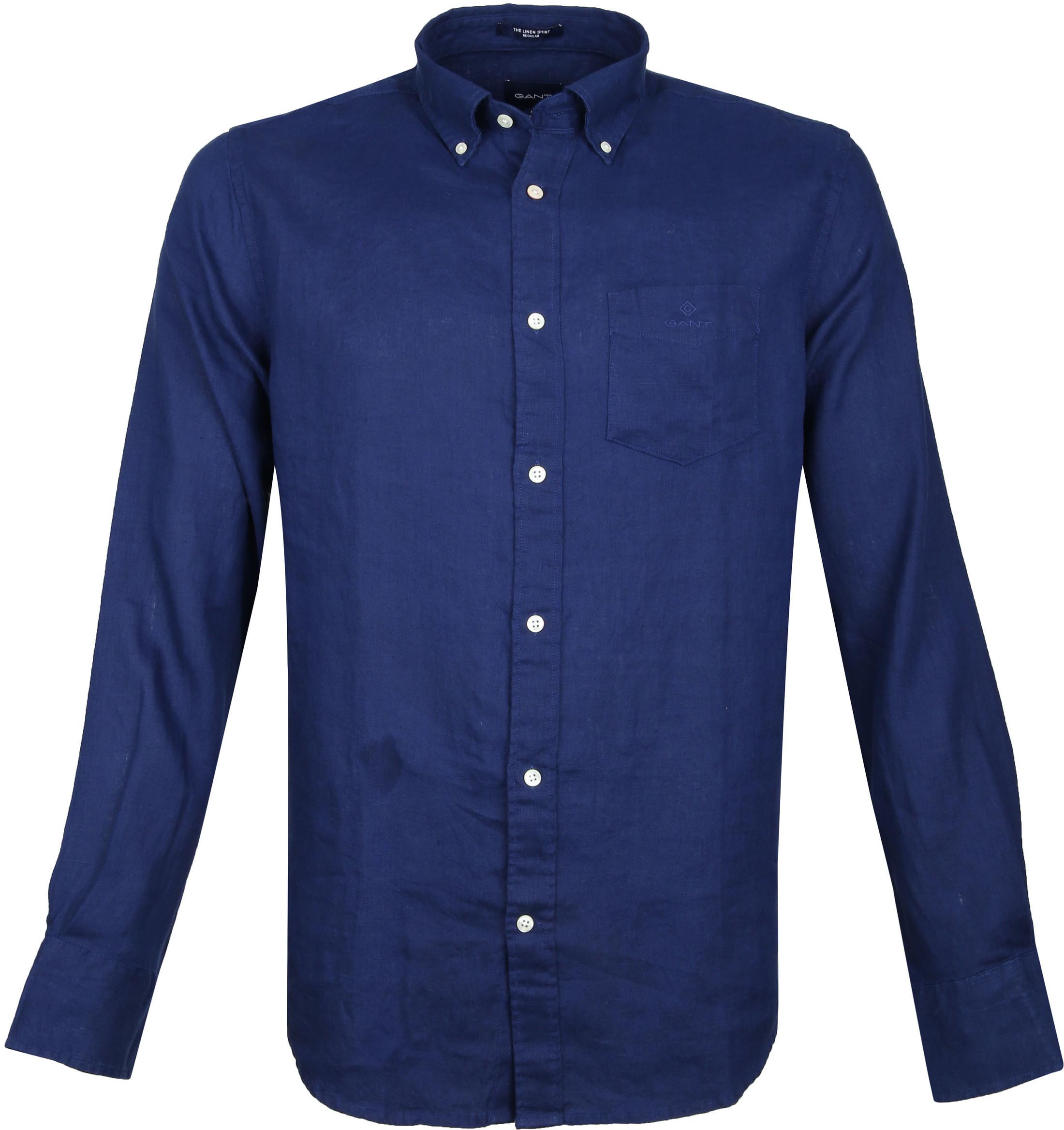Gant Overhemd Linnen Donkerblauw