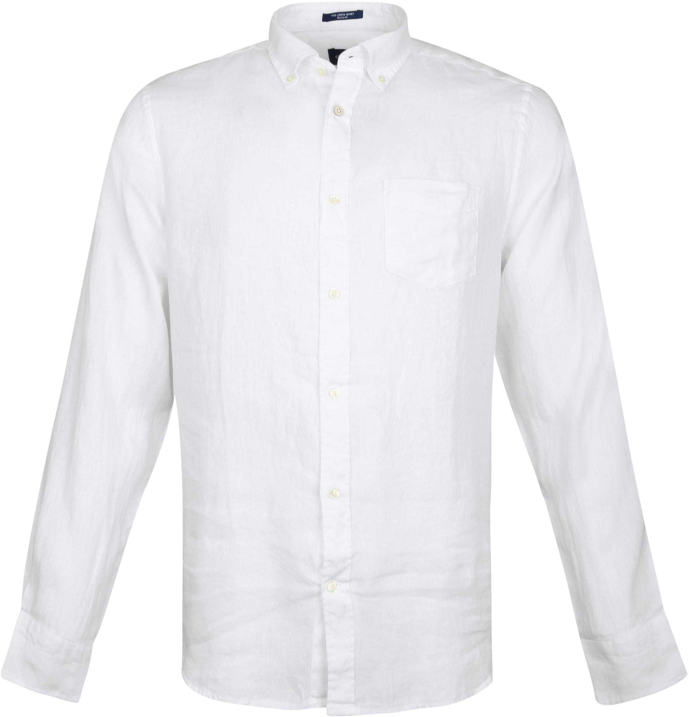 Gant Overhemd Linnen Wit