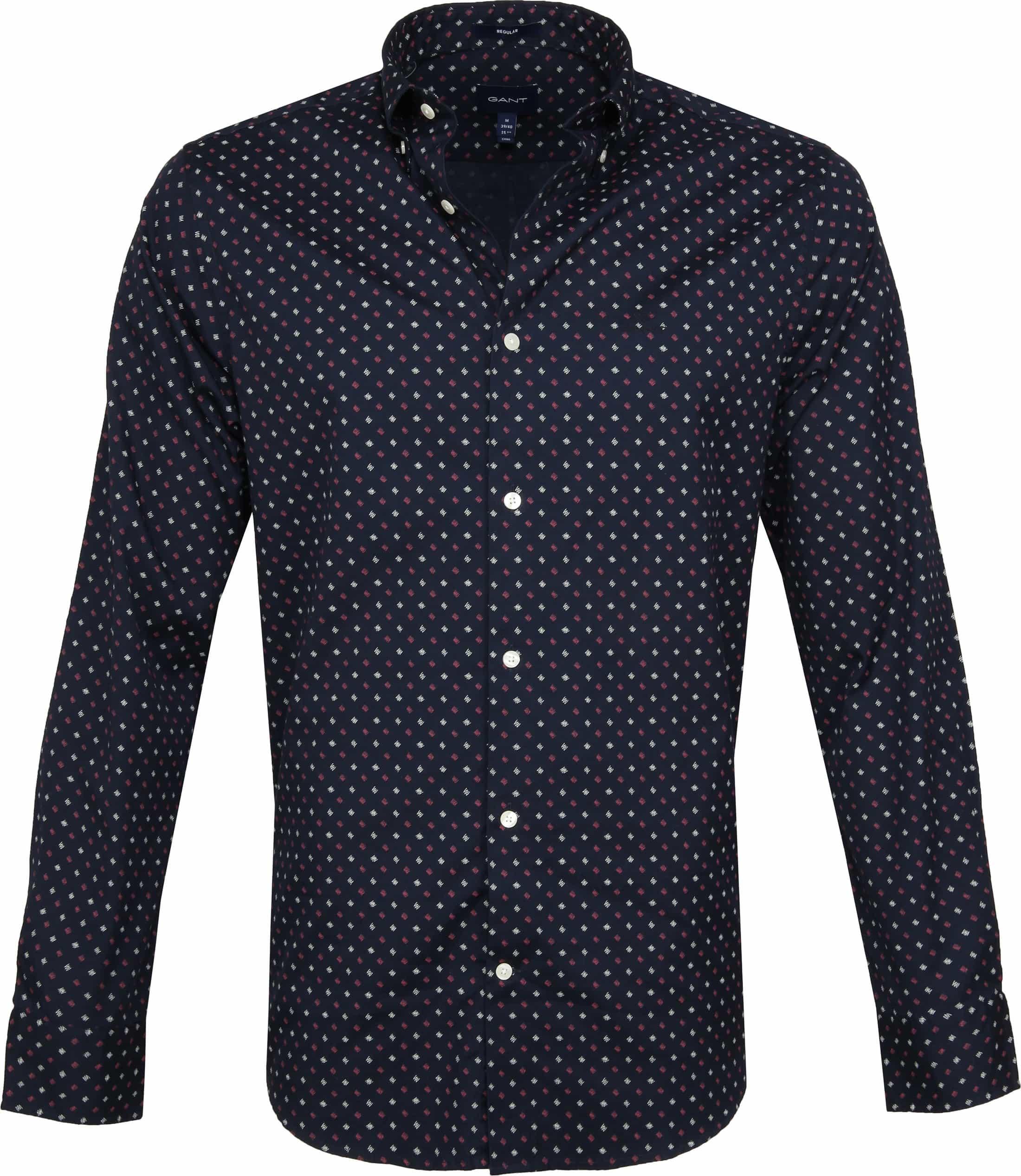 Gant Overhemd Scribble Print Navy