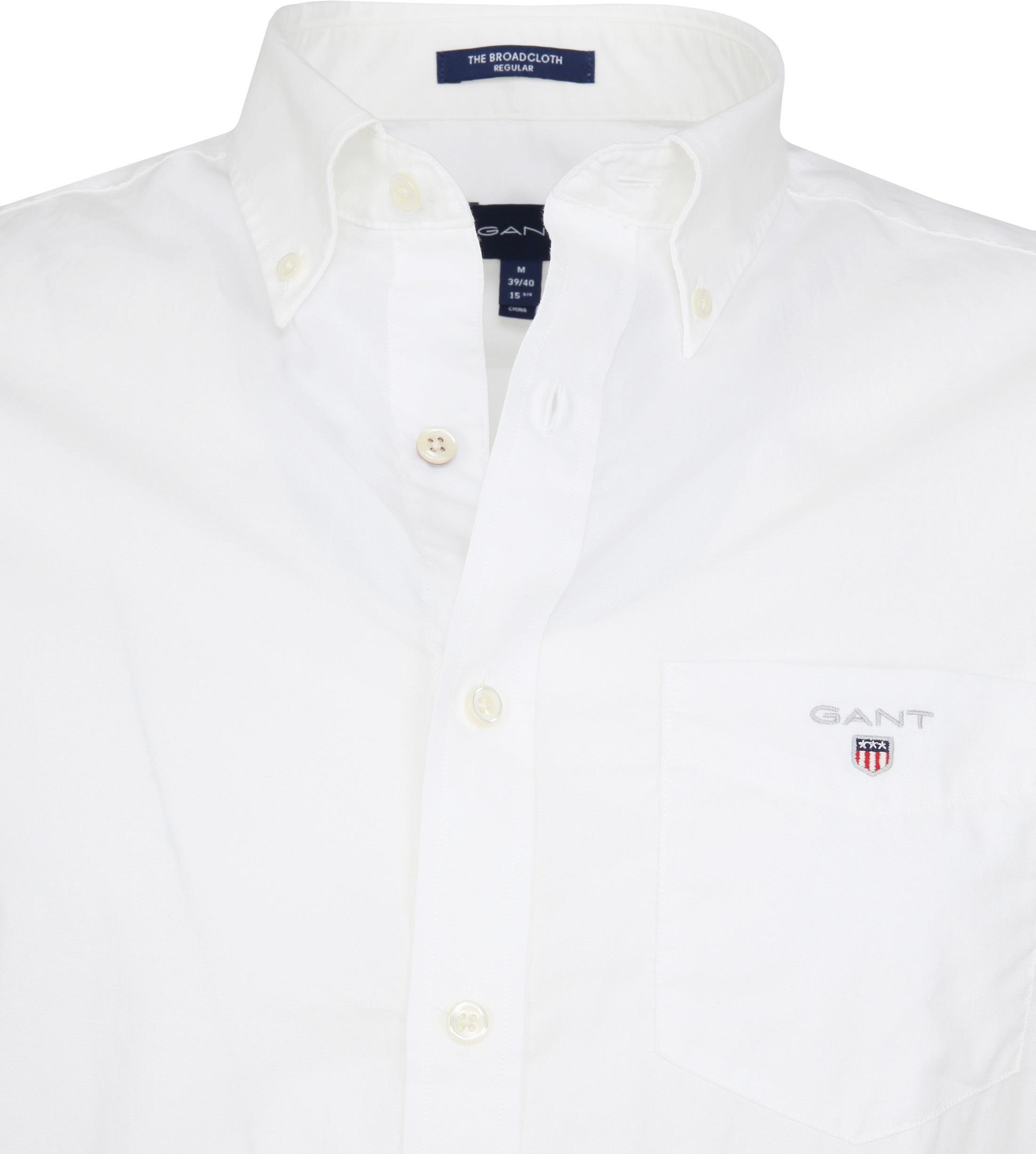 Gant Overhemd SS Broadcloth Wit foto 1