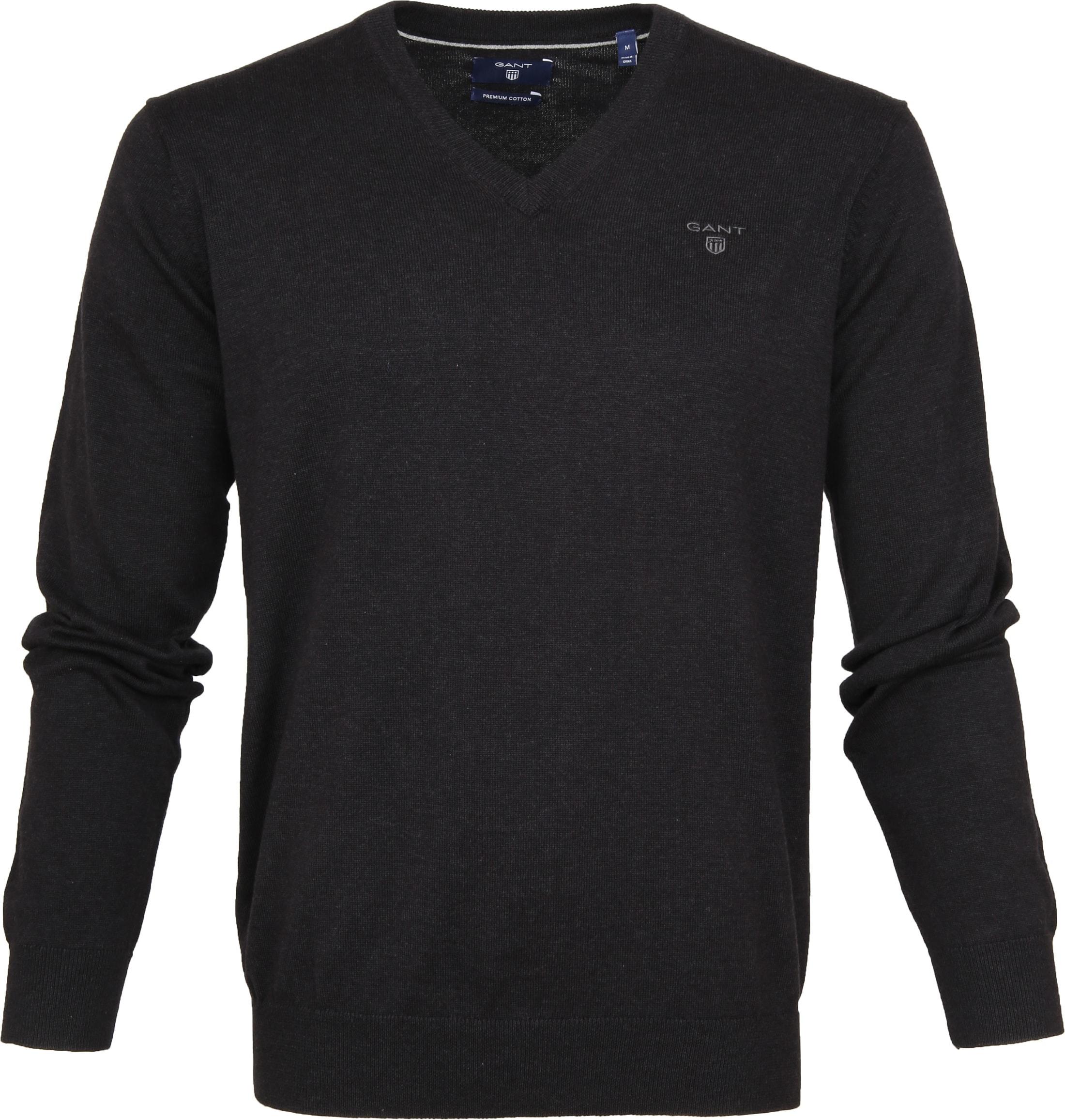 Gant Pullover Premium V-Hals Antraciet foto 0