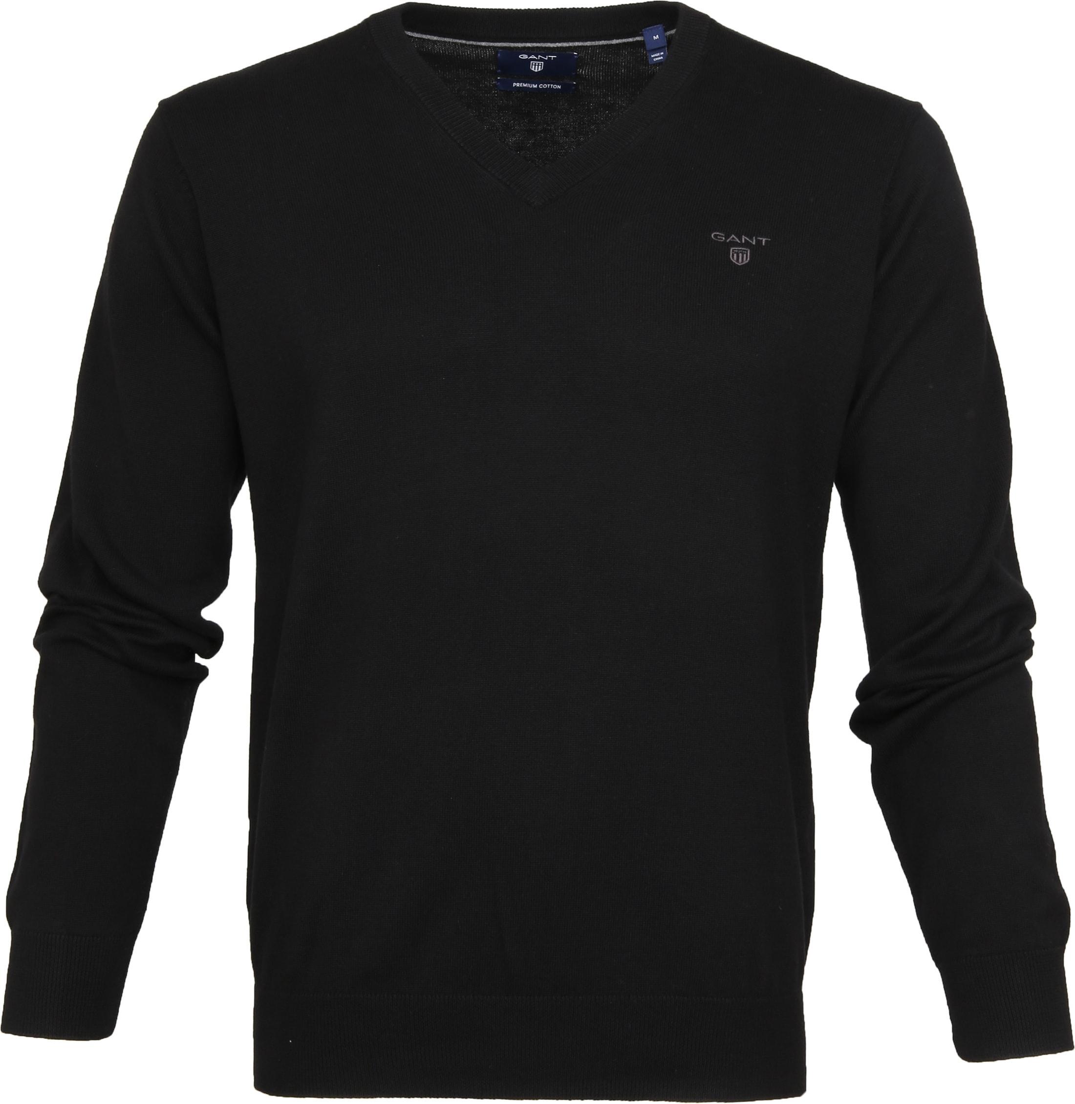 Gant Pullover Premium V-Hals Zwart foto 0