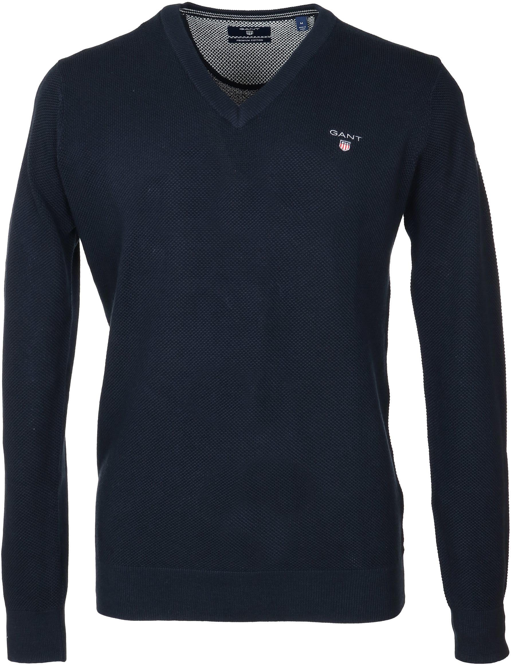 Gant Pullover V-Ausschnitt Dunkelblau foto 0