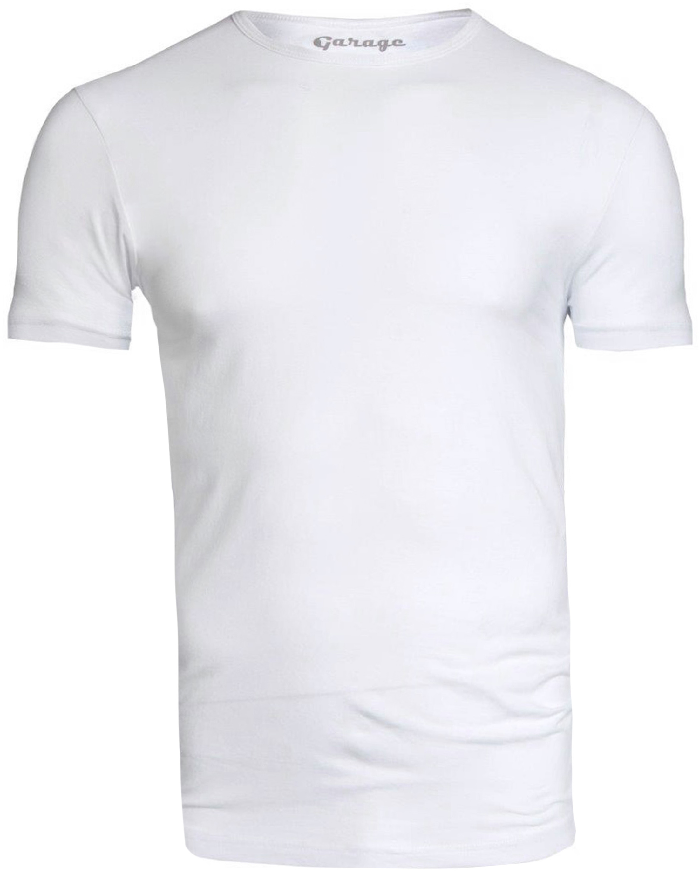 Garage Stretch Basic T-Shirt Weiss Rundhals