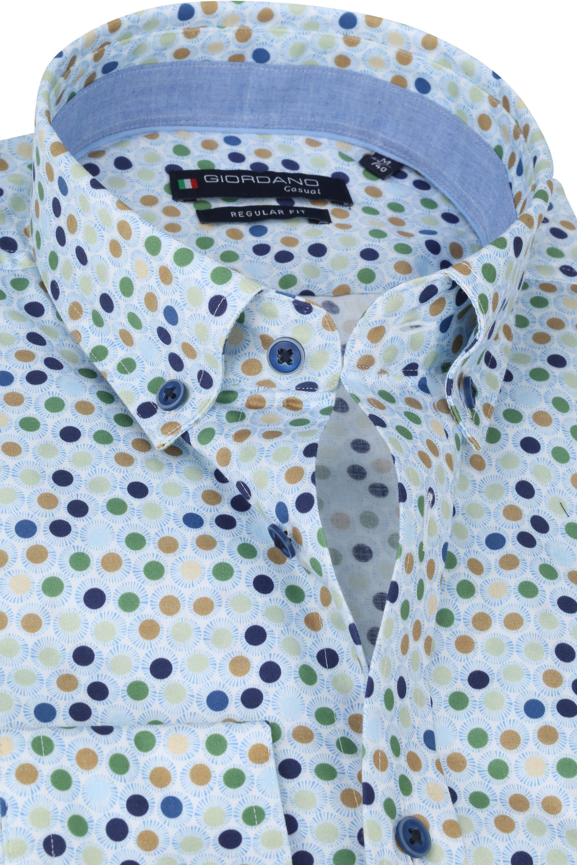 Giordano Overhemd Ivy Stippen Lichtblauw