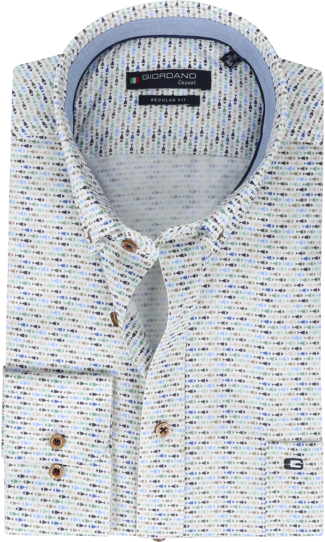 Giordano Overhemd Ivy Vis Donkergroen