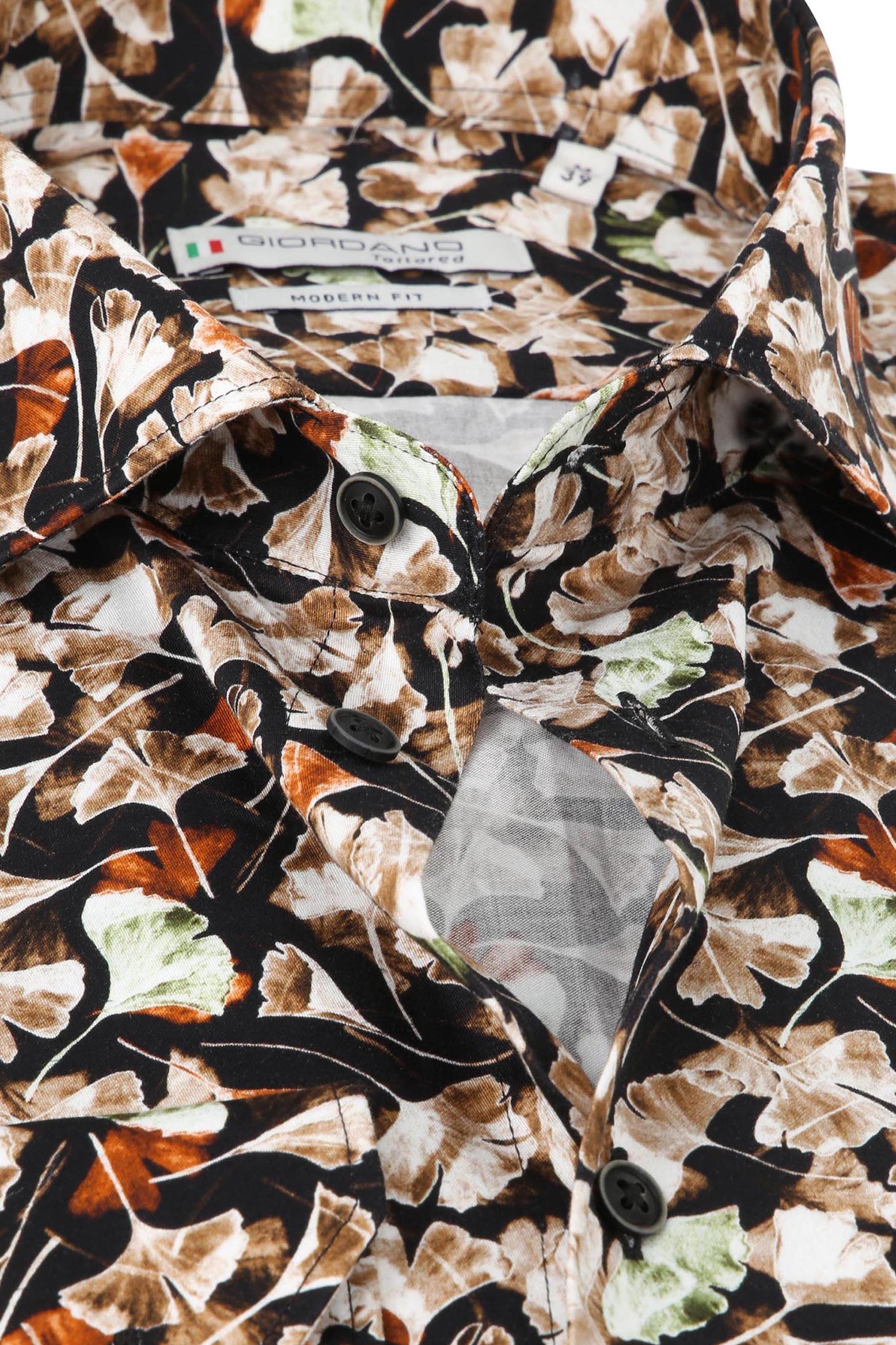 Giordano Overhemd Maggiore Bladeren Bruin