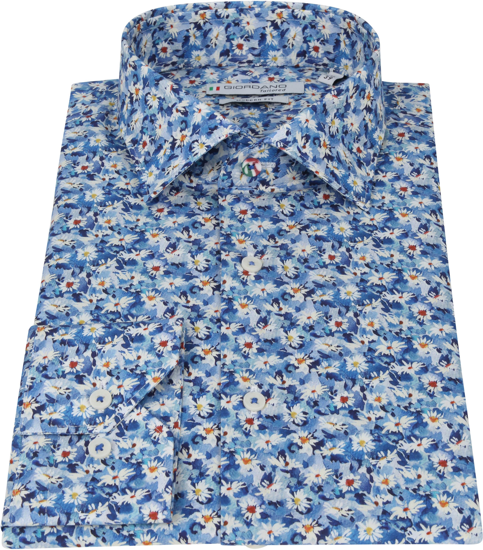 Giordano Overhemd Maggiore Bloemen Donkerblauw