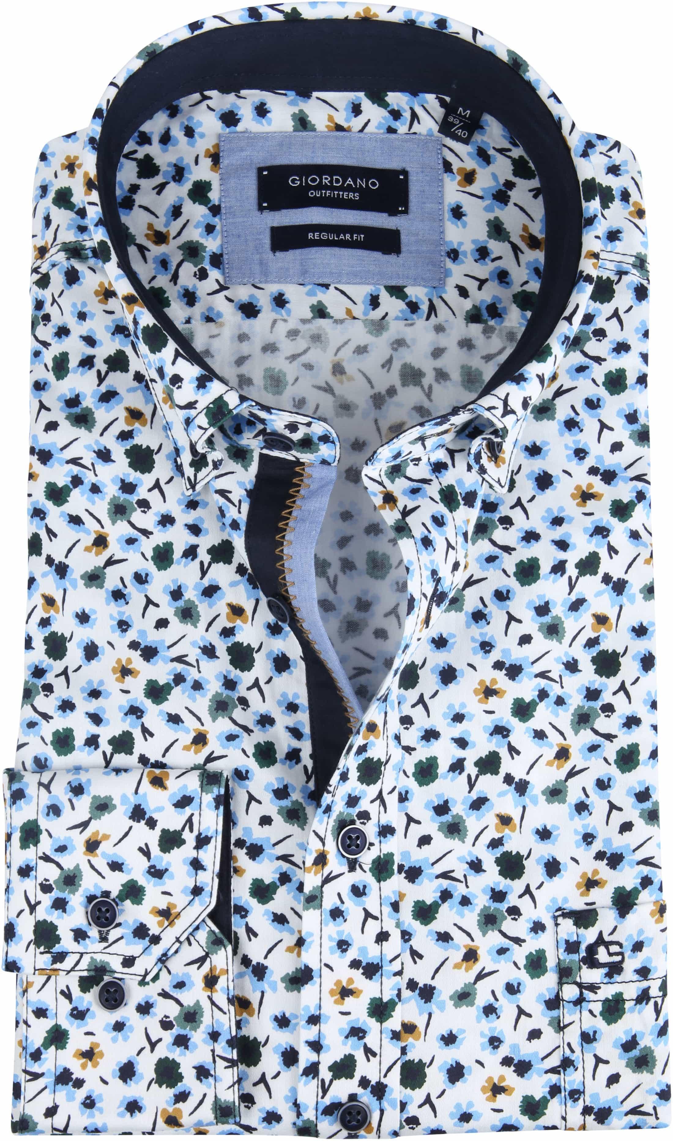 Giordano Walker Shirt Flower Blue foto 0