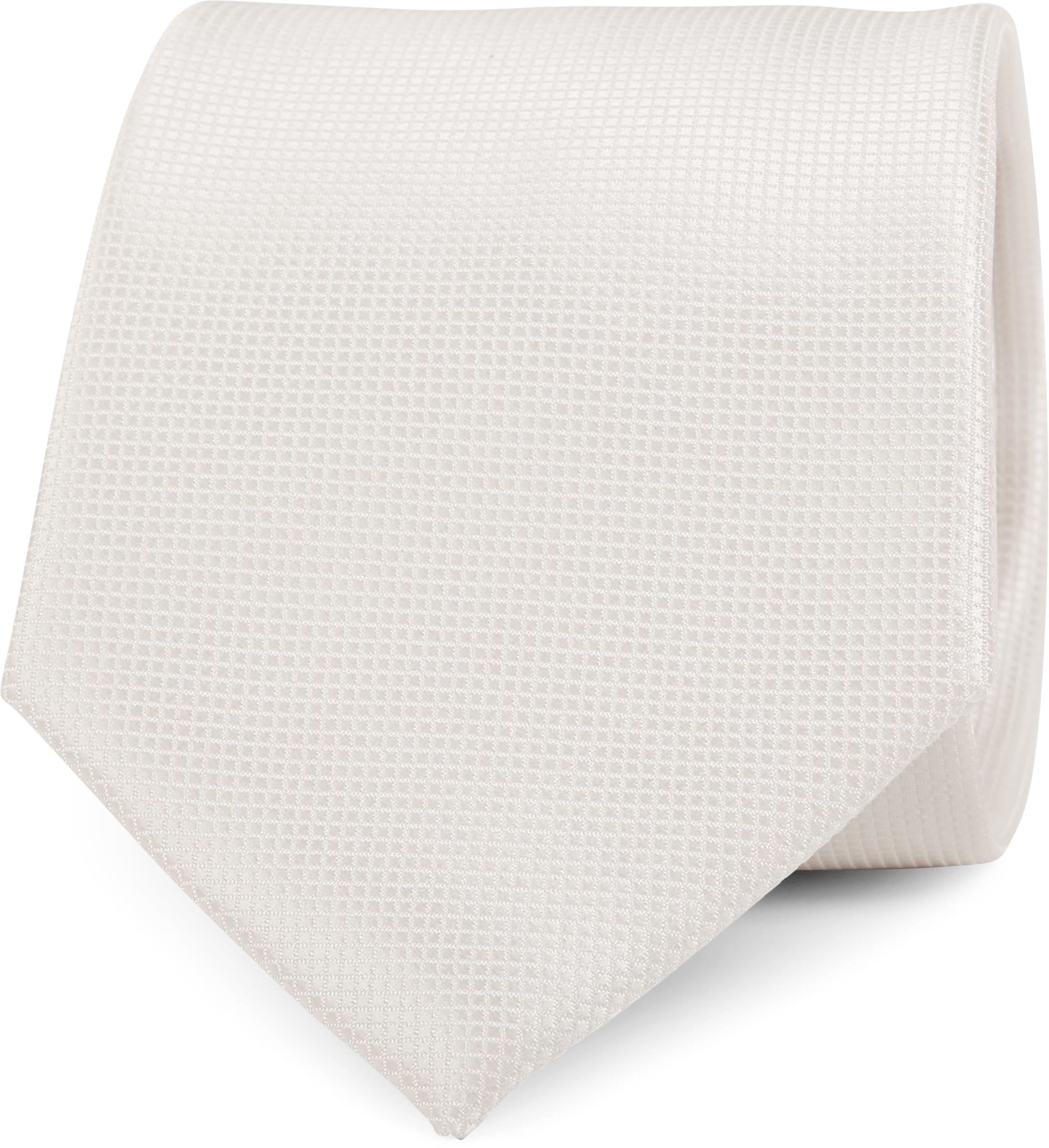 Hochzeit Krawatte + Einstecktuch Carre gebrochenes-Weiß foto 1