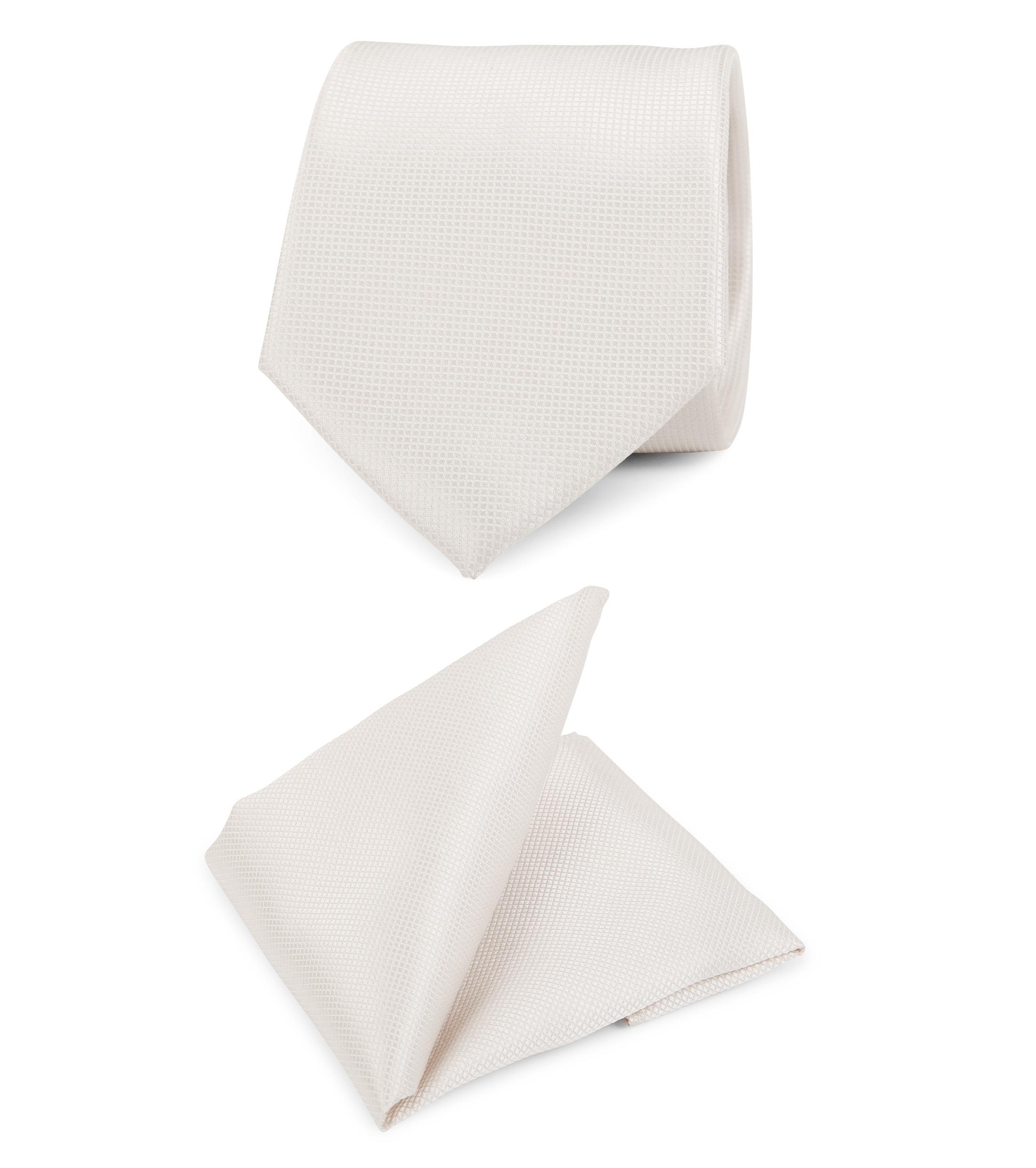 Hochzeit Krawatte + Einstecktuch Carre gebrochenes-Weiß foto 0