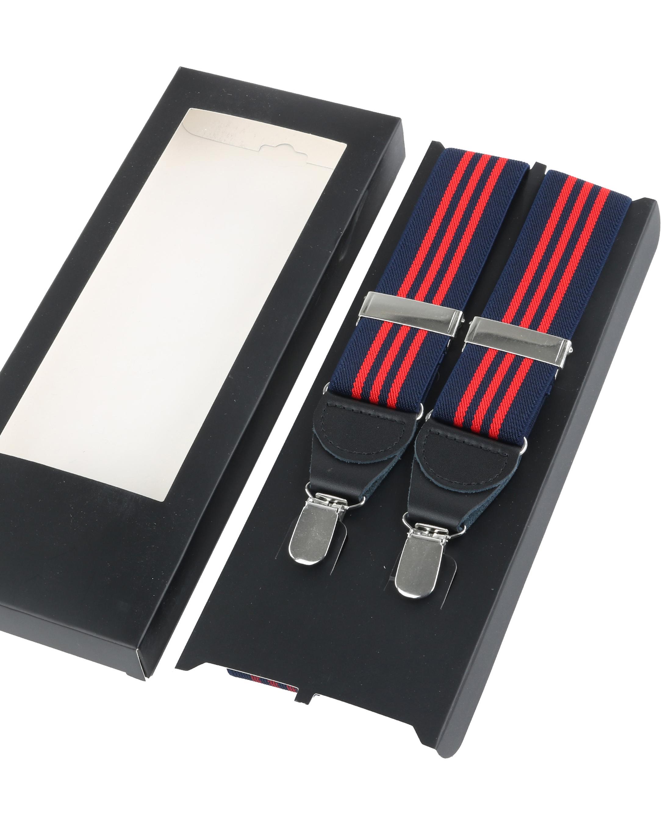 Hosenträger Navy - Rot Streifen foto 2