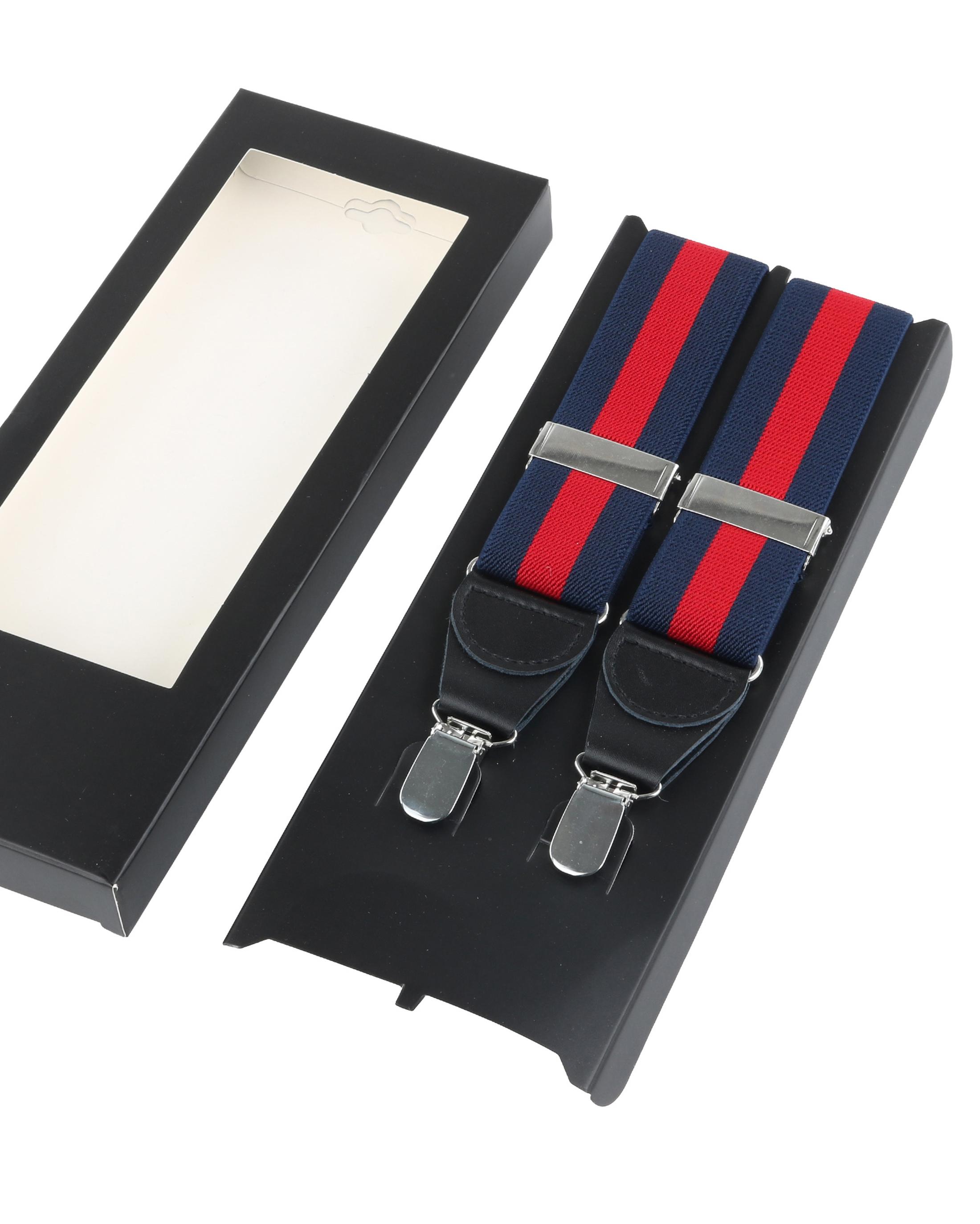 Hosenträger Streifen Navy + Rot foto 2