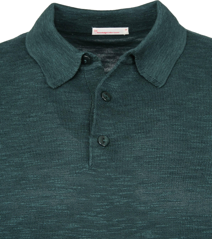 Knowledge Cotton Apparel Longsleeve Polo Groen foto 2