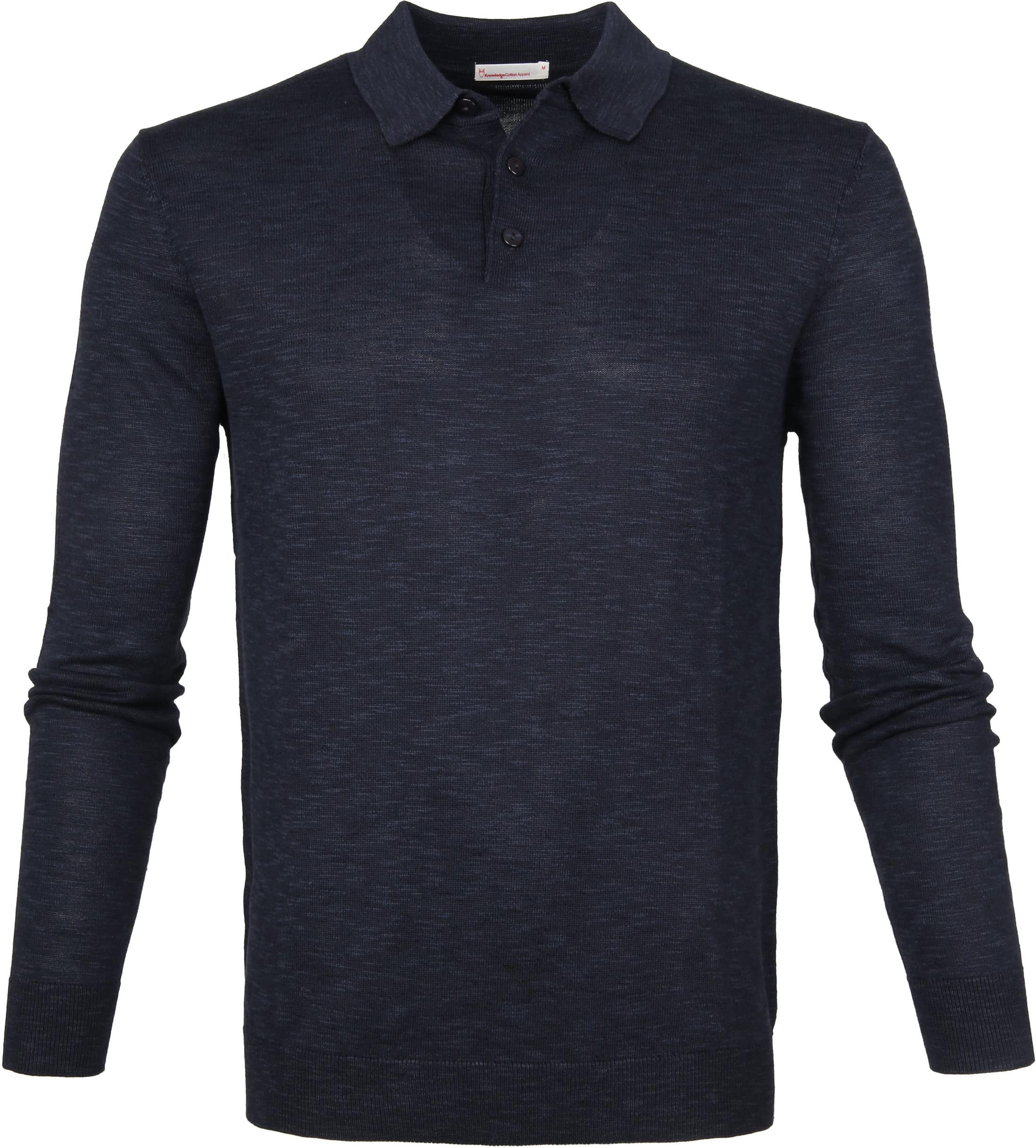 Knowledge Cotton Apparel Longsleeve Polo Navy foto 0