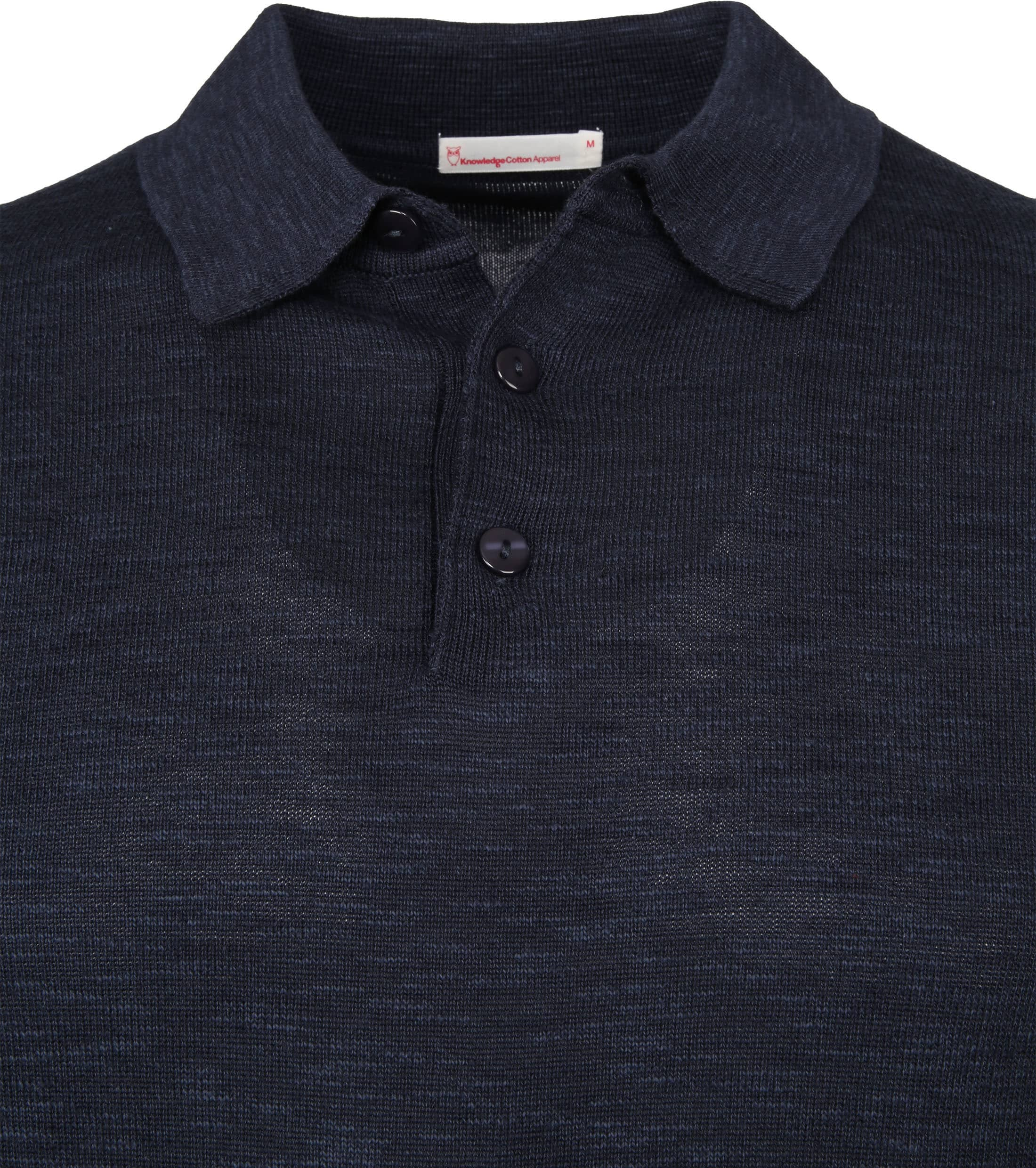 Knowledge Cotton Apparel Longsleeve Polo Navy foto 2