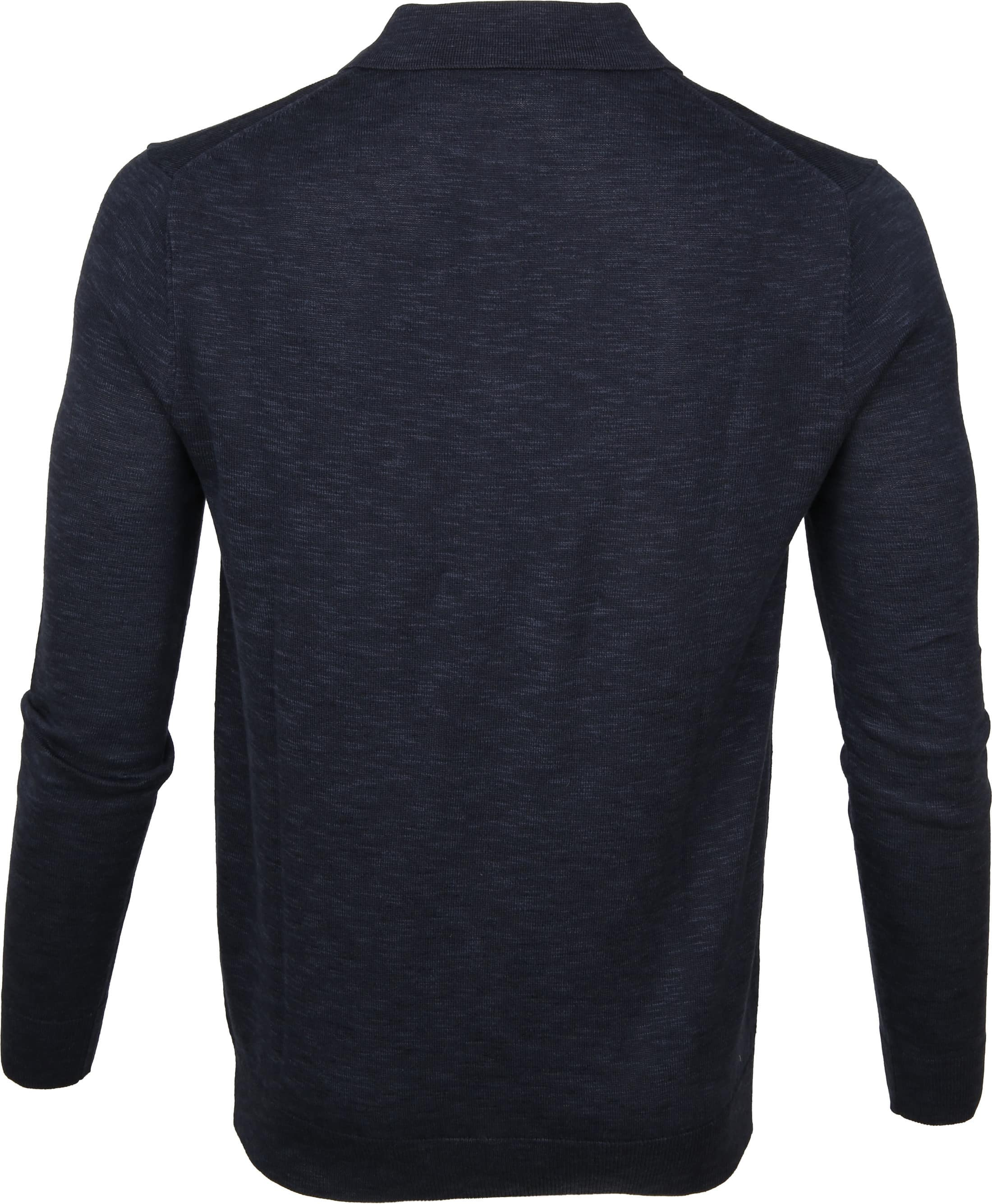 Knowledge Cotton Apparel Longsleeve Polo Navy foto 3